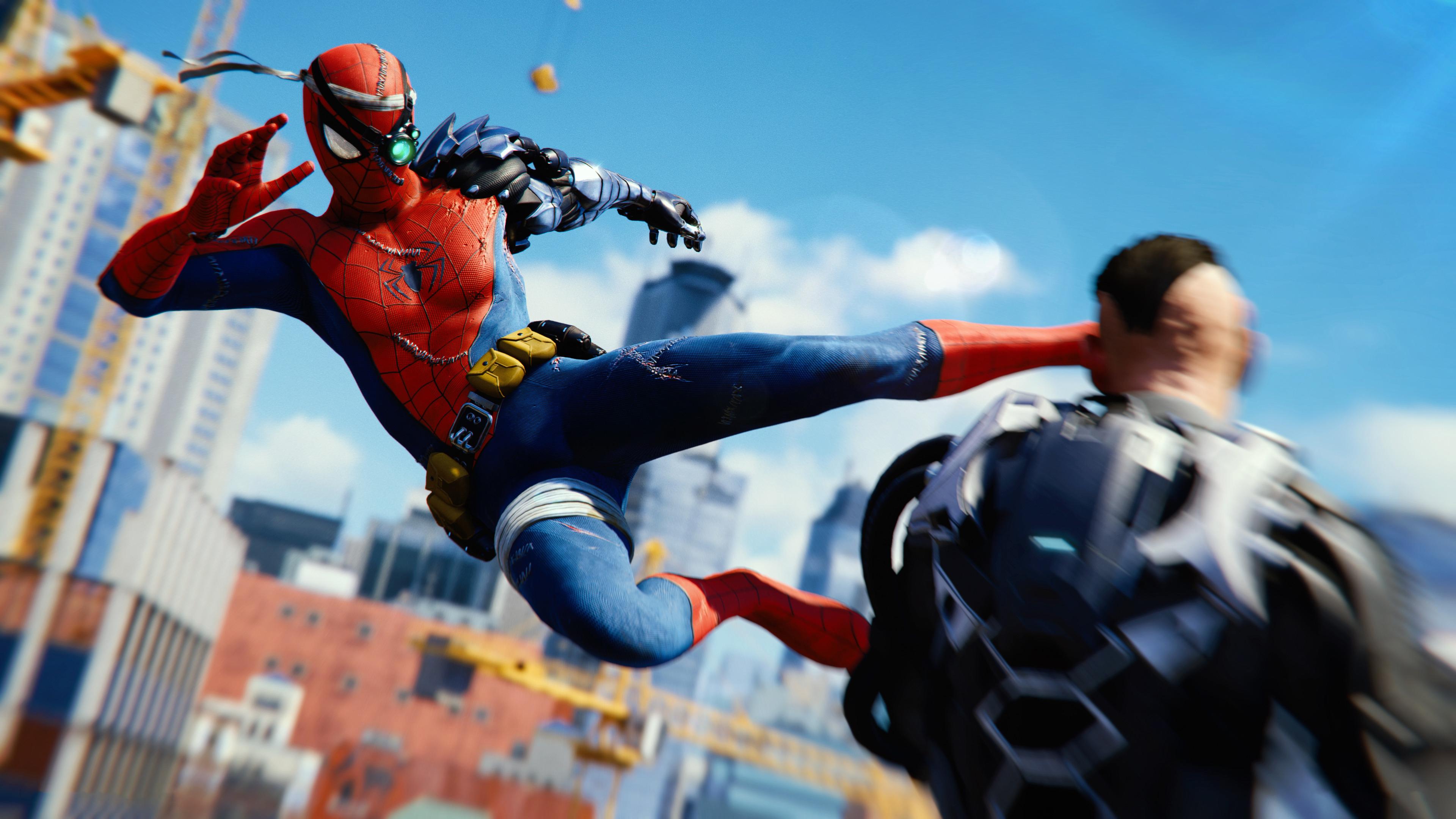 spiderman ps4 attack 4k 1545589251 - Spiderman Ps4 Attack 4k - superheroes wallpapers, spiderman wallpapers, spiderman ps4 wallpapers, ps games wallpapers, hd-wallpapers, games wallpapers, 4k-wallpapers, 2018 games wallpapers