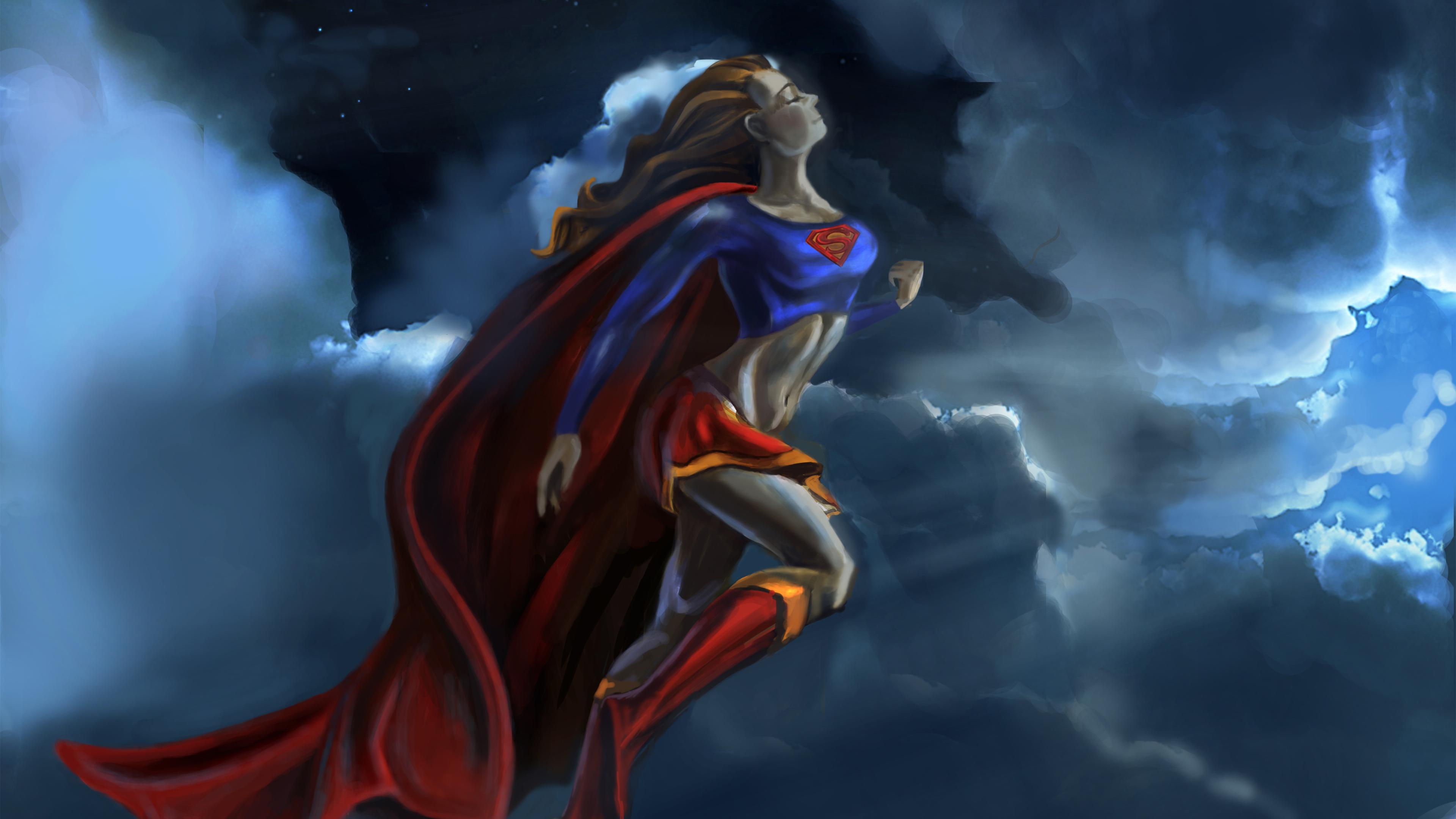 2048x2048 Game Girl Pubg 4k Ipad Air Hd 4k Wallpapers: Supergirl In The Air 4K Art Superheroes Wallpapers