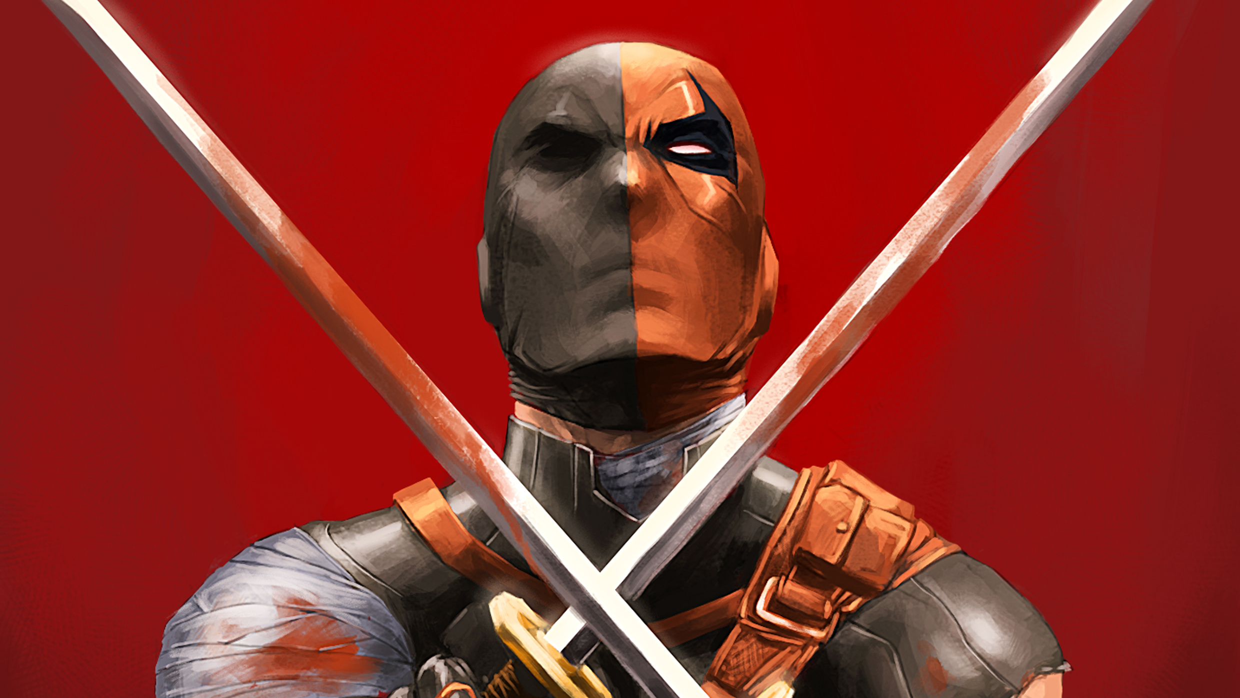 deathstroke with two swords 4k 1548527187 - Deathstroke With Two Swords 4k - supervillain wallpapers, superheroes wallpapers, hd-wallpapers, digital art wallpapers, deathstroke wallpapers, artwork wallpapers