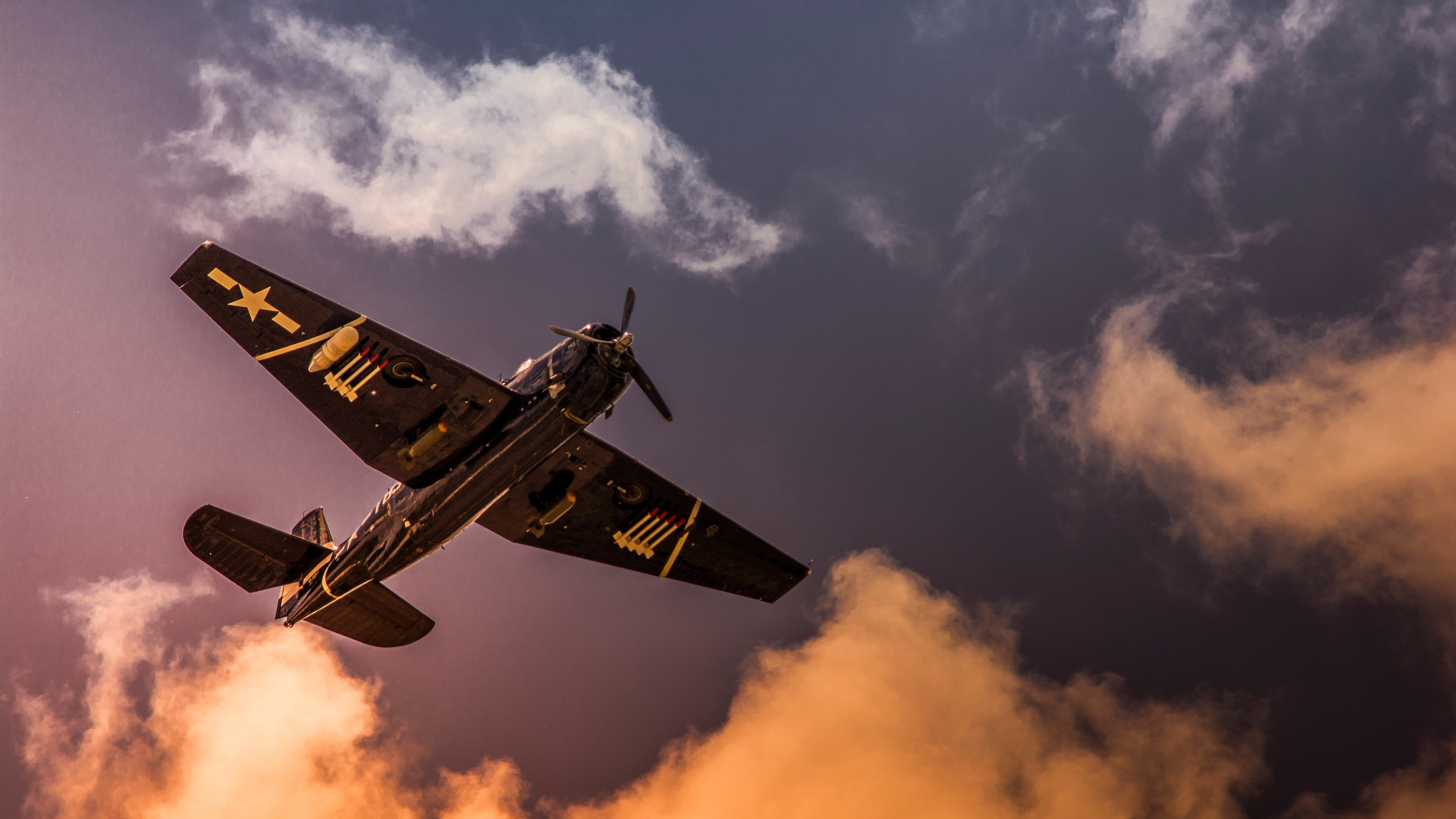 grumman tbf avenger aircraft sky clouds 4k 1547938018 - Grumman TBF Avenger Aircraft Sky Clouds 4k - sky wallpapers, planes wallpapers, hd-wallpapers, clouds wallpapers, aircraft wallpapers, 5k wallpapers, 4k-wallpapers