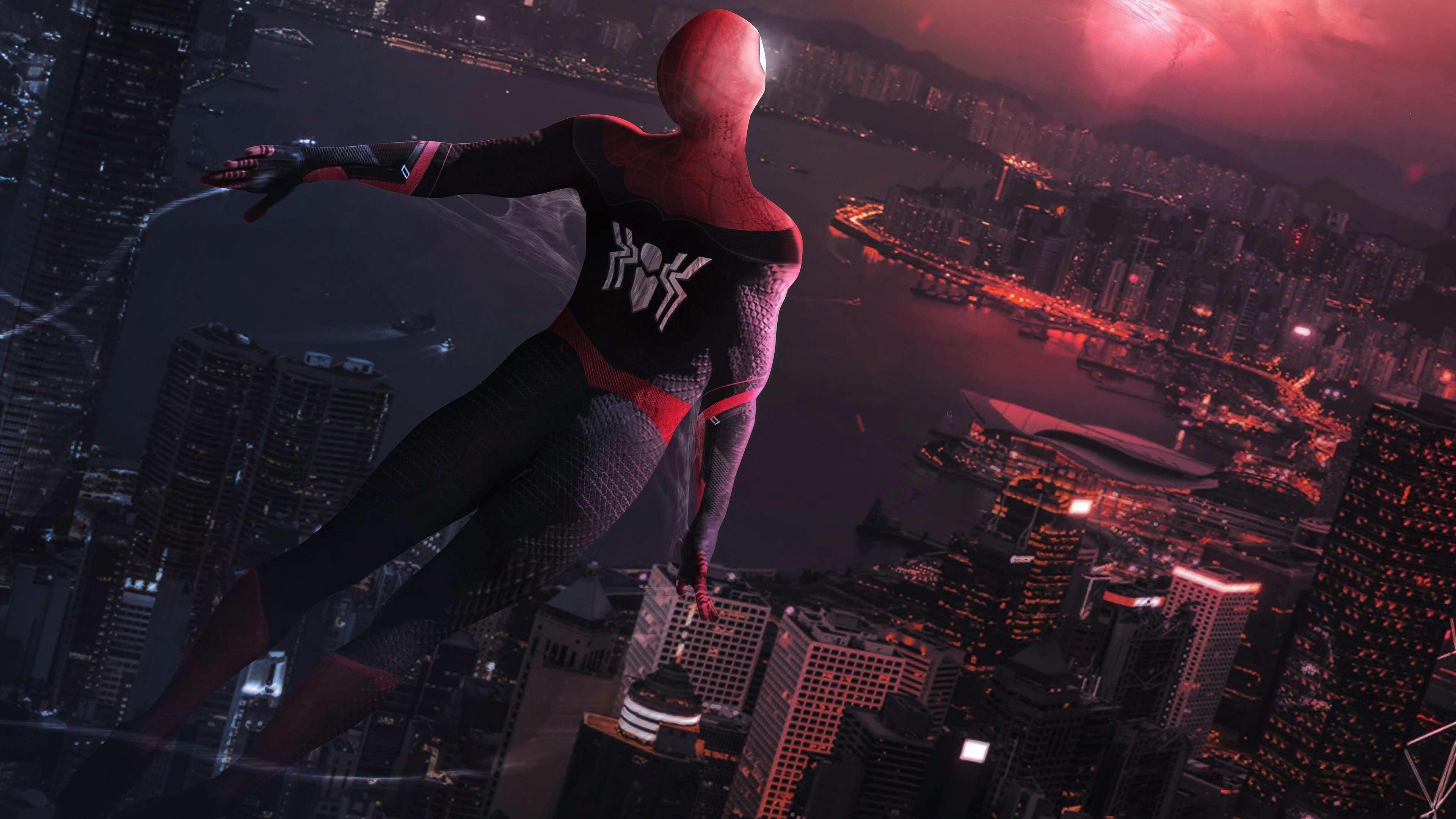 spiderman far away 4k 1547936619 - Spiderman Far Away 4k - superheroes wallpapers, spiderman wallpapers, hd-wallpapers, digital art wallpapers, deviantart wallpapers, artwork wallpapers, artist wallpapers, 4k-wallpapers