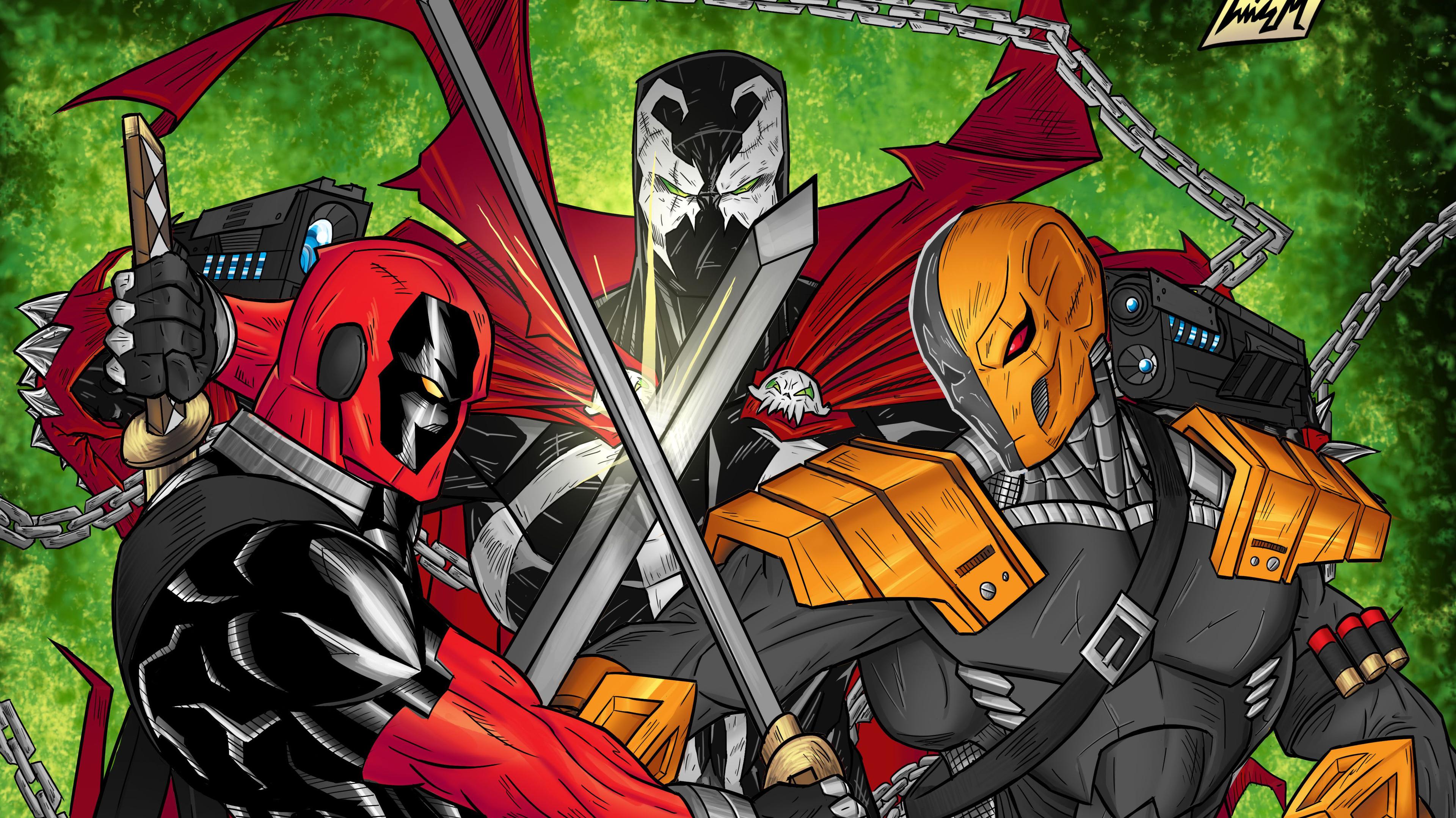 superhero vs supervillain 4k 1547936499 - Superhero Vs Supervillain 4k - superheroes wallpapers, hd-wallpapers, digital art wallpapers, deathstroke wallpapers, deadpool wallpapers, artwork wallpapers, 4k-wallpapers