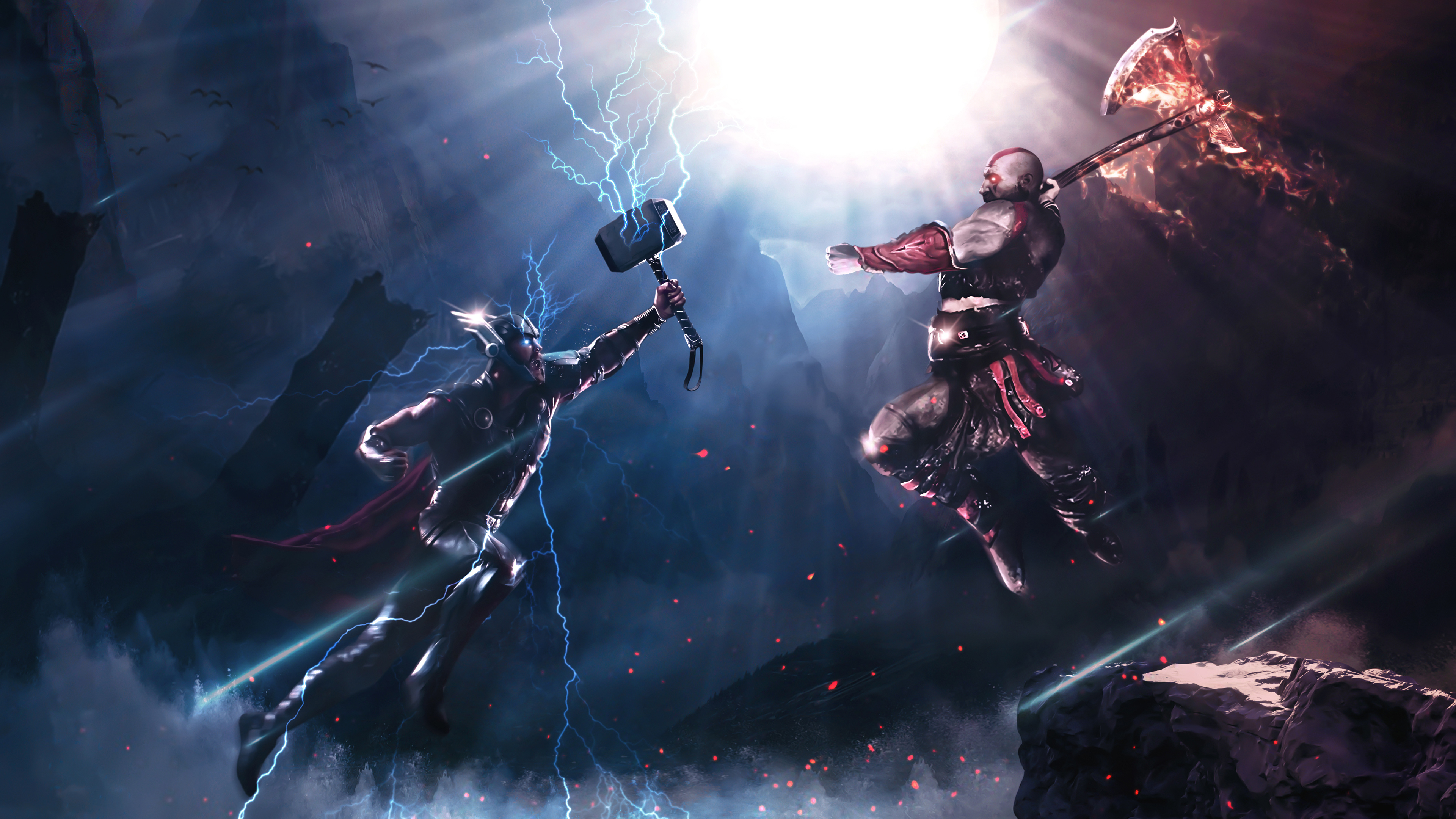 thor vs kratos art 4k 1547936624 - Thor Vs Kratos Art 4k - thor wallpapers, superheroes wallpapers, kratos wallpapers, hd-wallpapers, digital art wallpapers, behance wallpapers, artwork wallpapers, 4k-wallpapers
