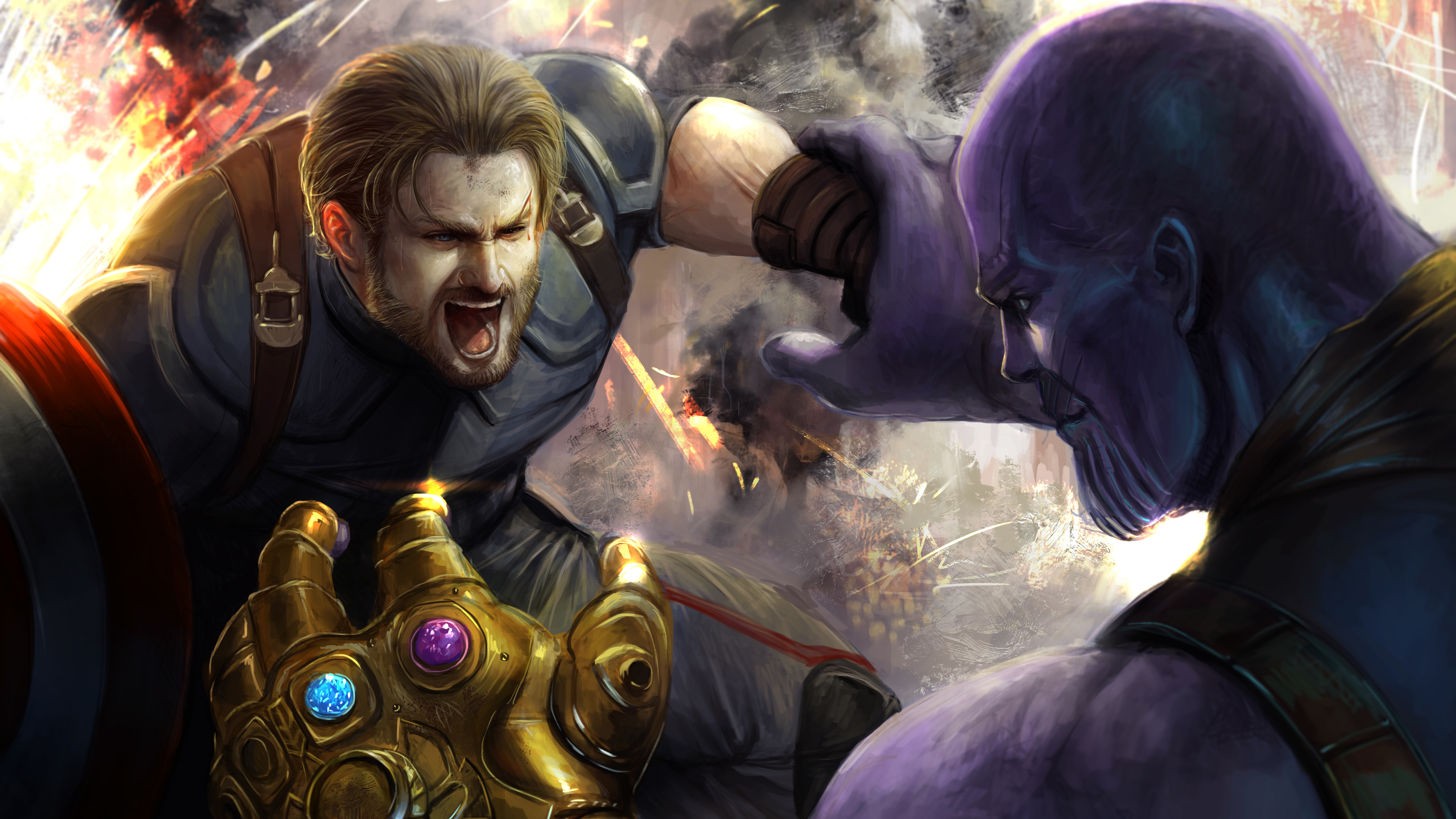 captain vs thanos art 4k 1550511892 - Captain VS Thanos Art 4k - thanos-wallpapers, superheroes wallpapers, hd-wallpapers, digital art wallpapers, deviantart wallpapers, captain america wallpapers, artwork wallpapers, artist wallpapers, 5k wallpapers, 4k-wallpapers