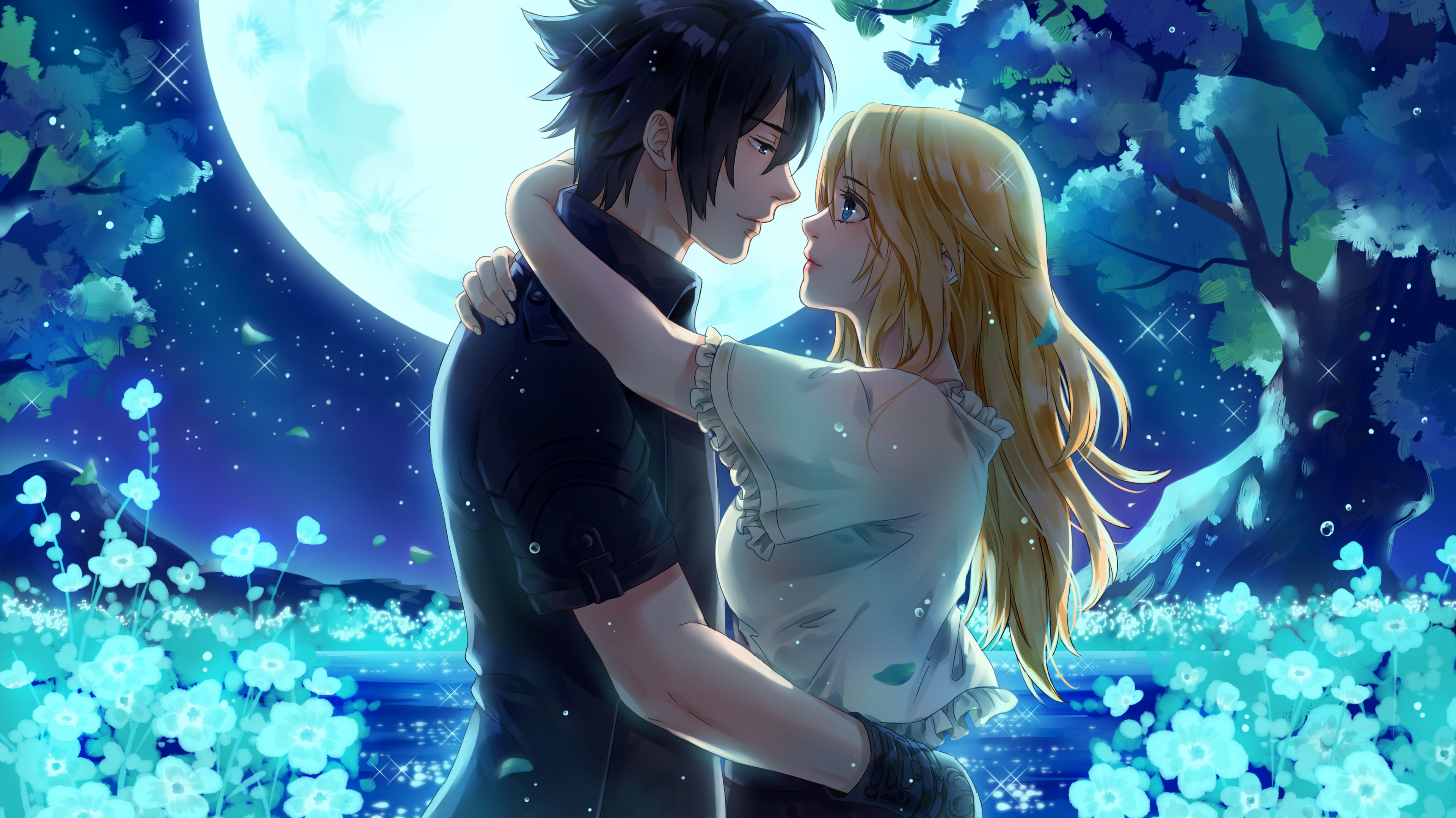 Wallpaper 4k Noctis And Stella From Final Fantasy Xv Under The