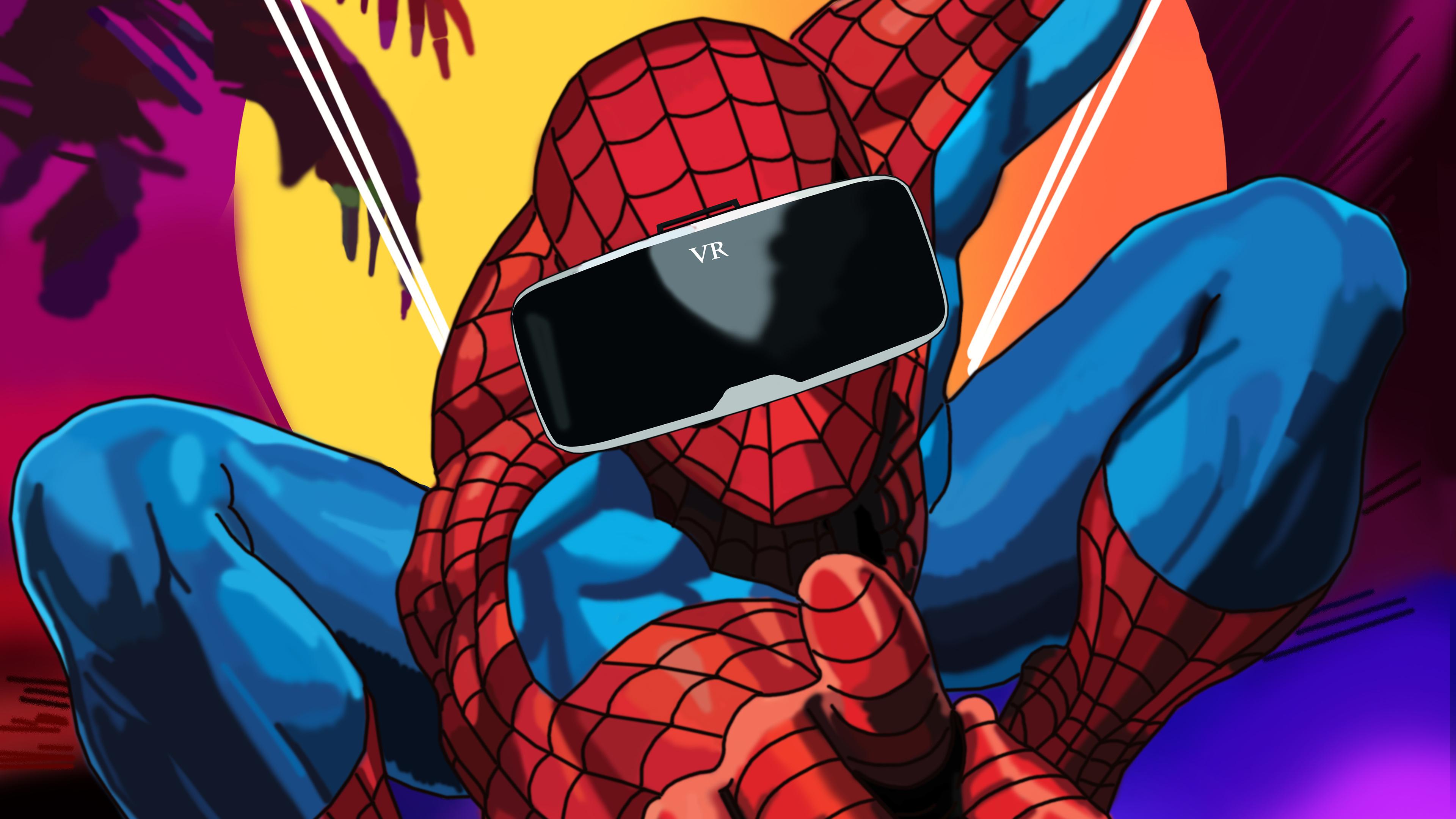 spiderman using vr headset 4k 1550510709 - Spiderman Using VR Headset 4k - superheroes wallpapers, spiderman wallpapers, hd-wallpapers, digital art wallpapers, behance wallpapers, artwork wallpapers, artist wallpapers, 4k-wallpapers