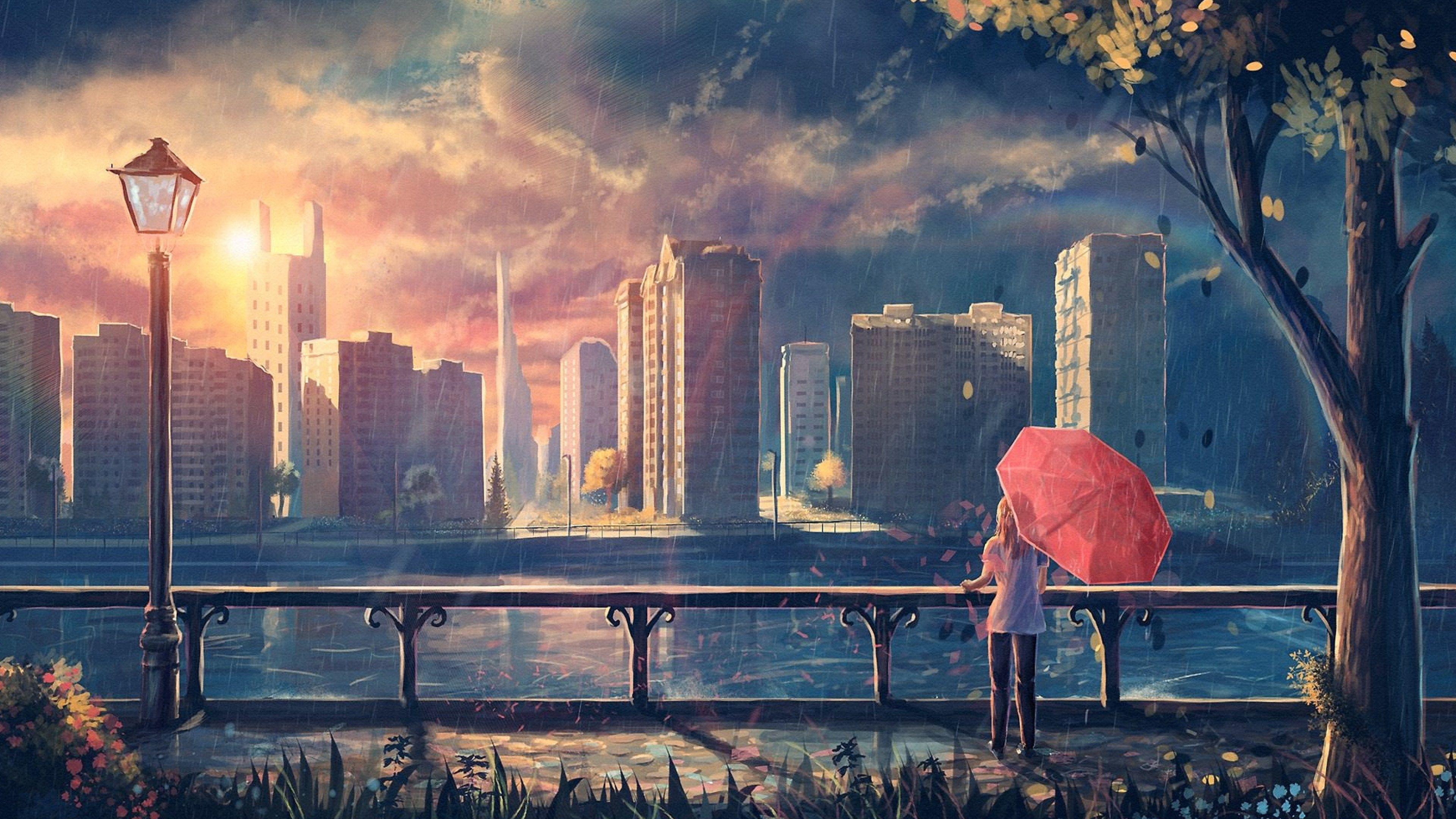Wallpaper 4k Anime Girl Cityscape Umbrella Trees 4k 4k Wallpapers Anime Girl Wallpapers Anime Wallpapers Artist Wallpapers Artwork Wallpapers Digital Art Wallpapers Hd Wallpapers Rain Wallpapers Umbrella Wallpapers