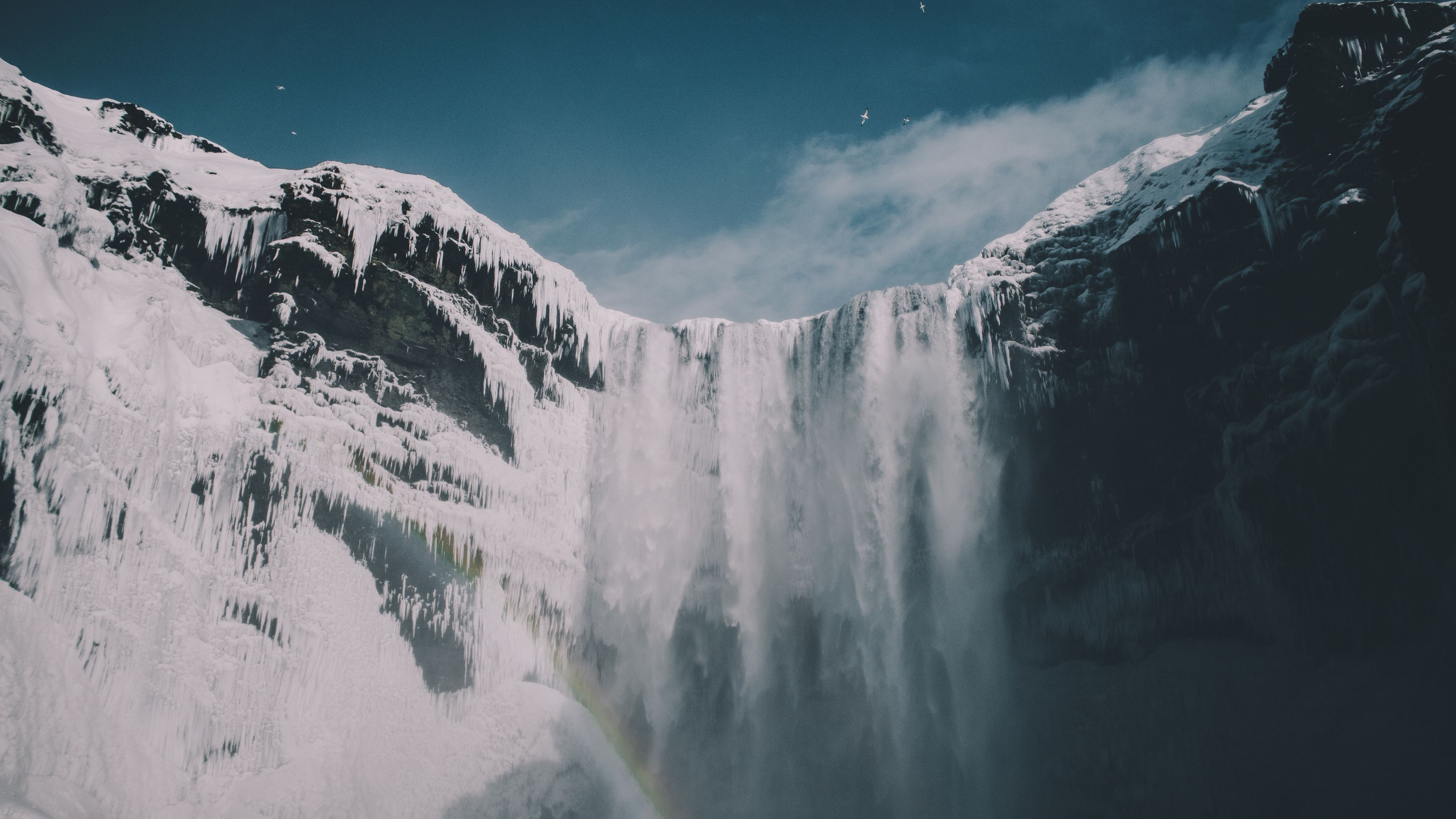 Wallpaper 4k Blue Sky Waterfall Snow Iceland Mountains 4k
