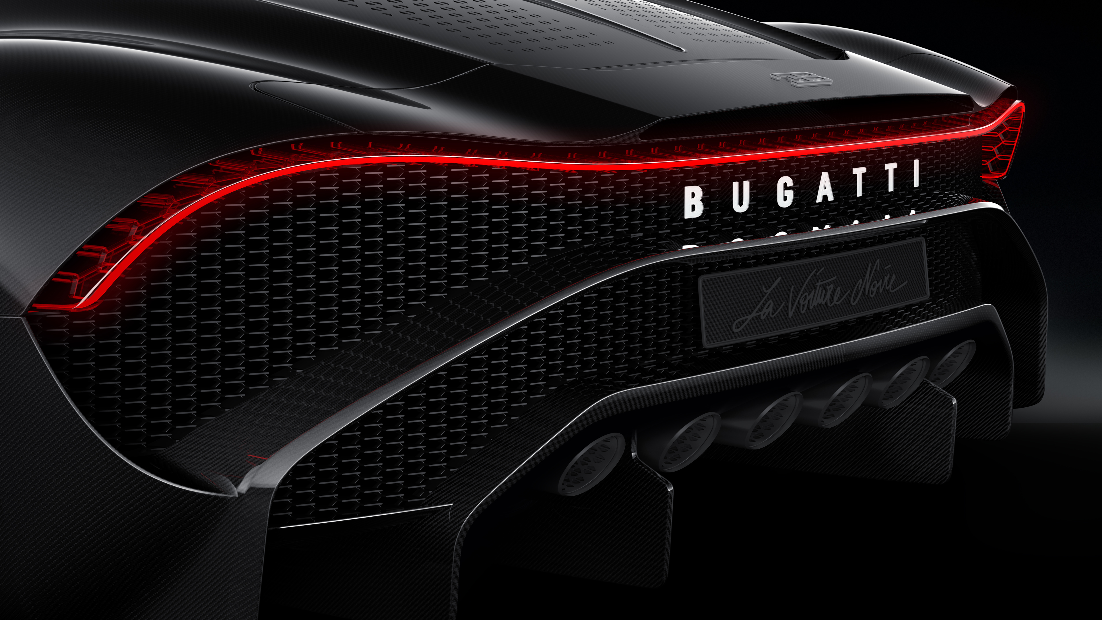 Wallpaper 4k Bugatti La Voiture Noire Rear Lights 4k 2019