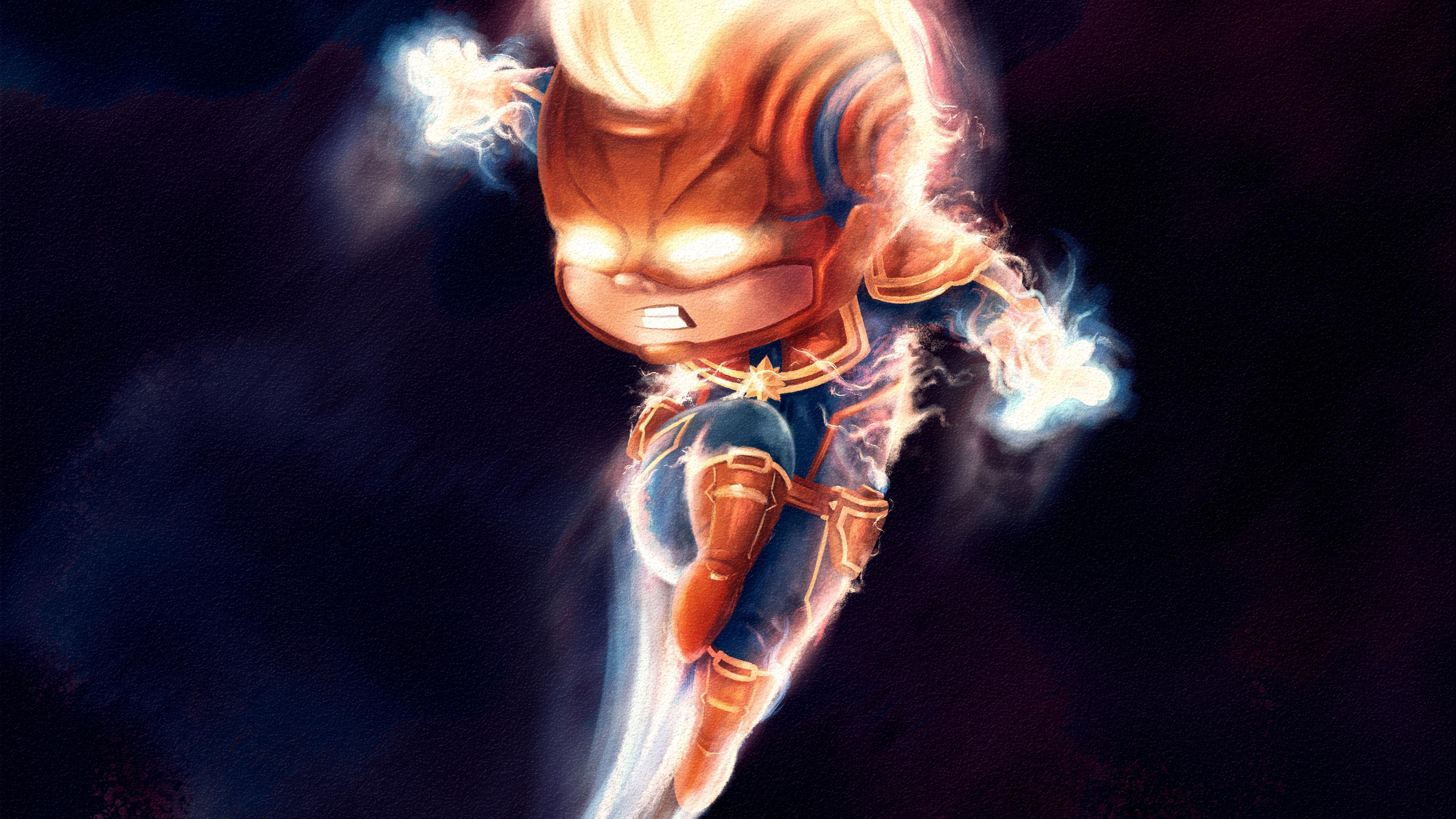 chibi captain marvel 4k artwork 1553072039 - Chibi Captain Marvel 4k Artwork - superheroes wallpapers, hd-wallpapers, captain marvel wallpapers, behance wallpapers, artwork wallpapers, 4k-wallpapers