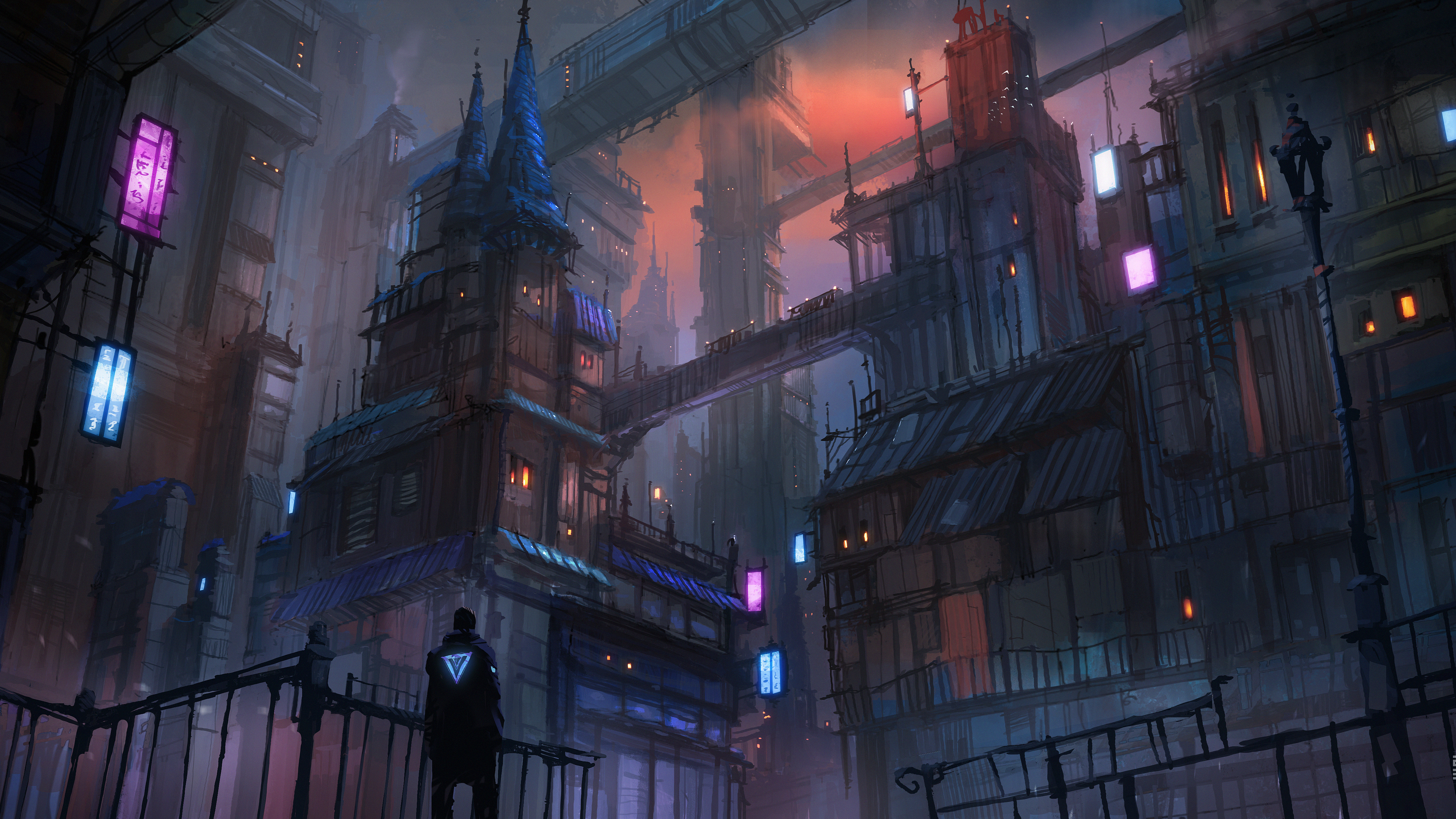 cyberpunk city evening mood 4k 1551642869 - Cyberpunk City Evening Mood 4k - hd-wallpapers, digital art wallpapers, deviantart wallpapers, cyberpunk wallpapers, city wallpapers, artwork wallpapers, artist wallpapers, 5k wallpapers, 4k-wallpapers