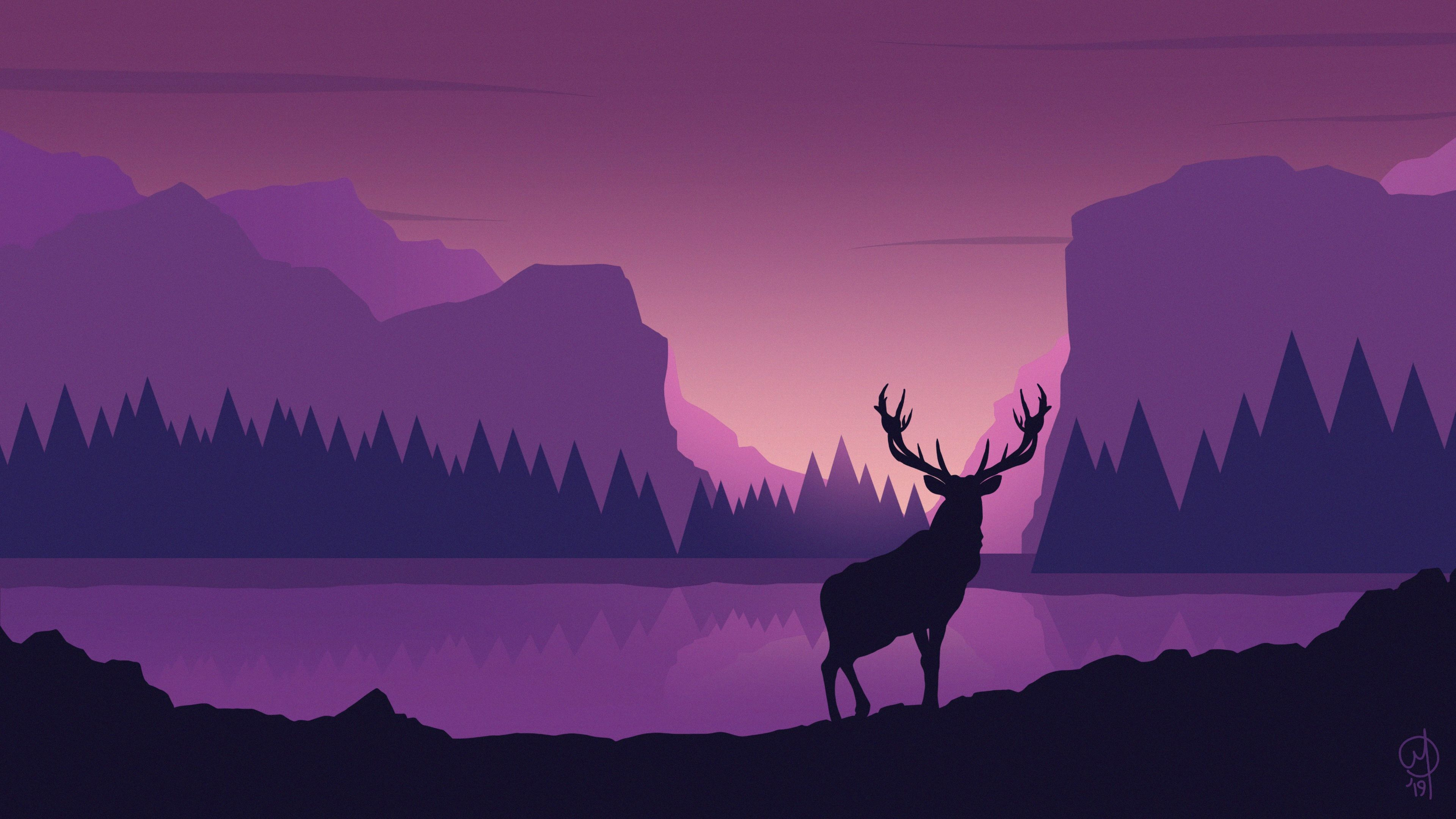 Deer Digtial Vector Art 4k minimalist wallpapers ...