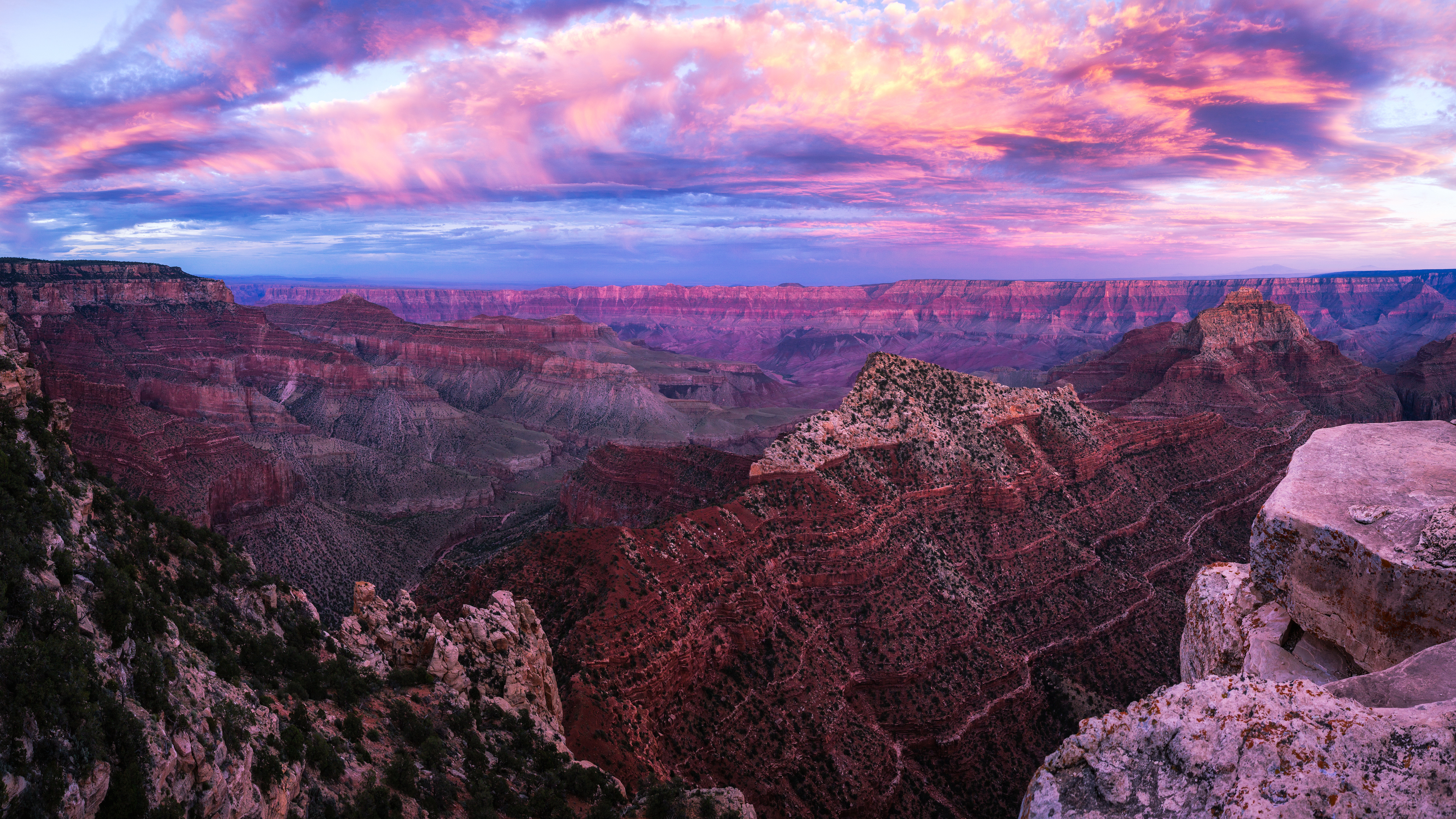 grand canyon sunset pano 1551644425 - Grand Canyon Sunset Pano - sunset wallpapers, nature wallpapers, hd-wallpapers, canyon wallpapers, 4k-wallpapers