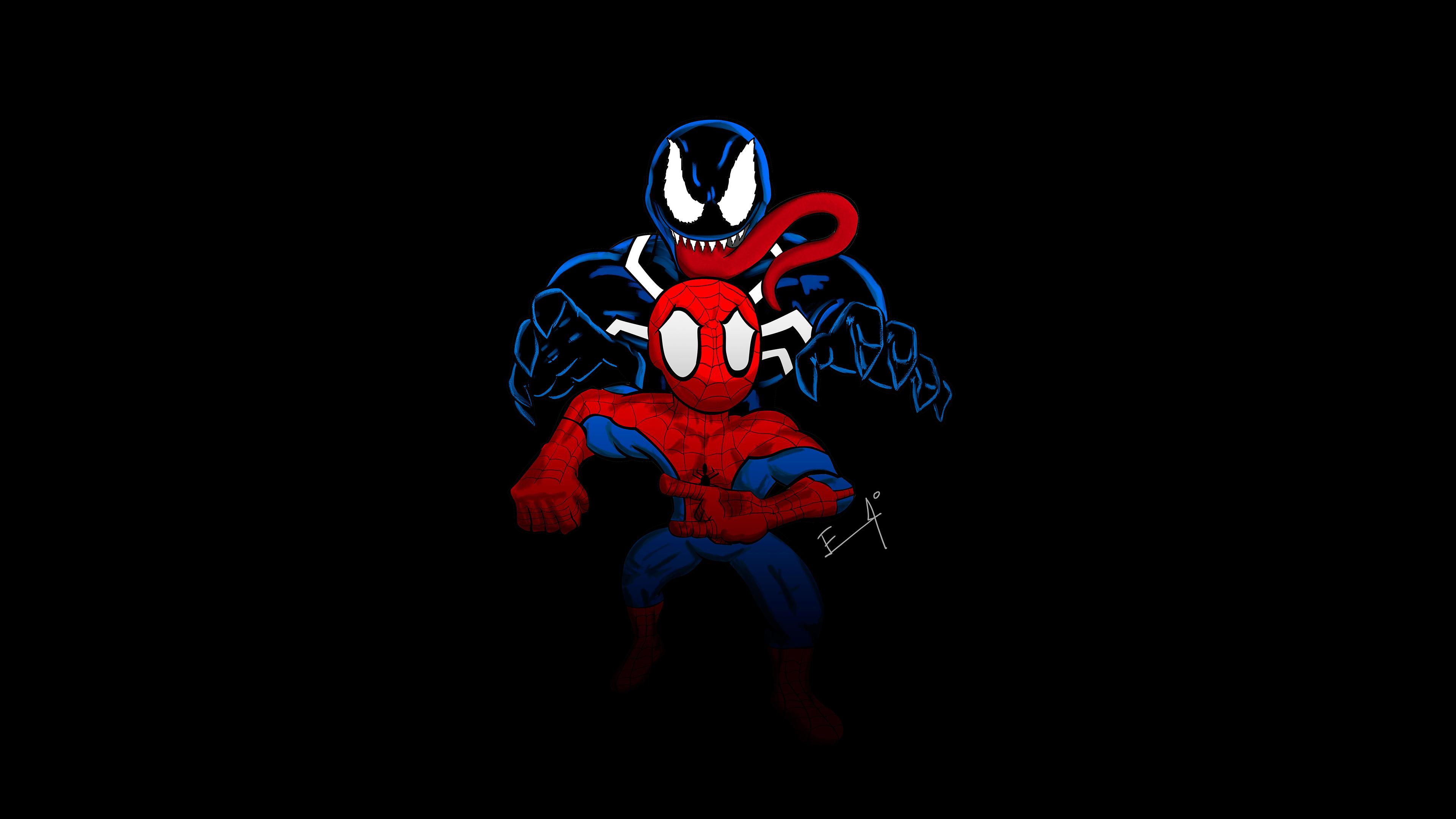 Little Spider Man And Venom 4k Venom wallpapers ...