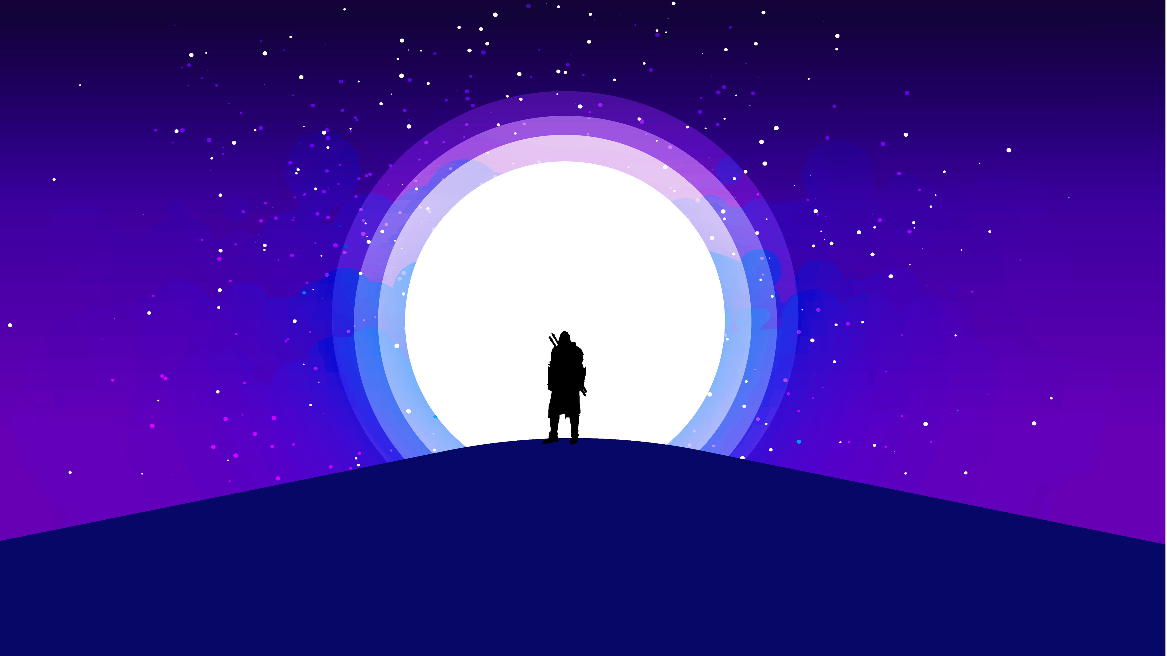 Wallpaper 4k Moon Warrior Purple Sky 4k 4k Wallpapers