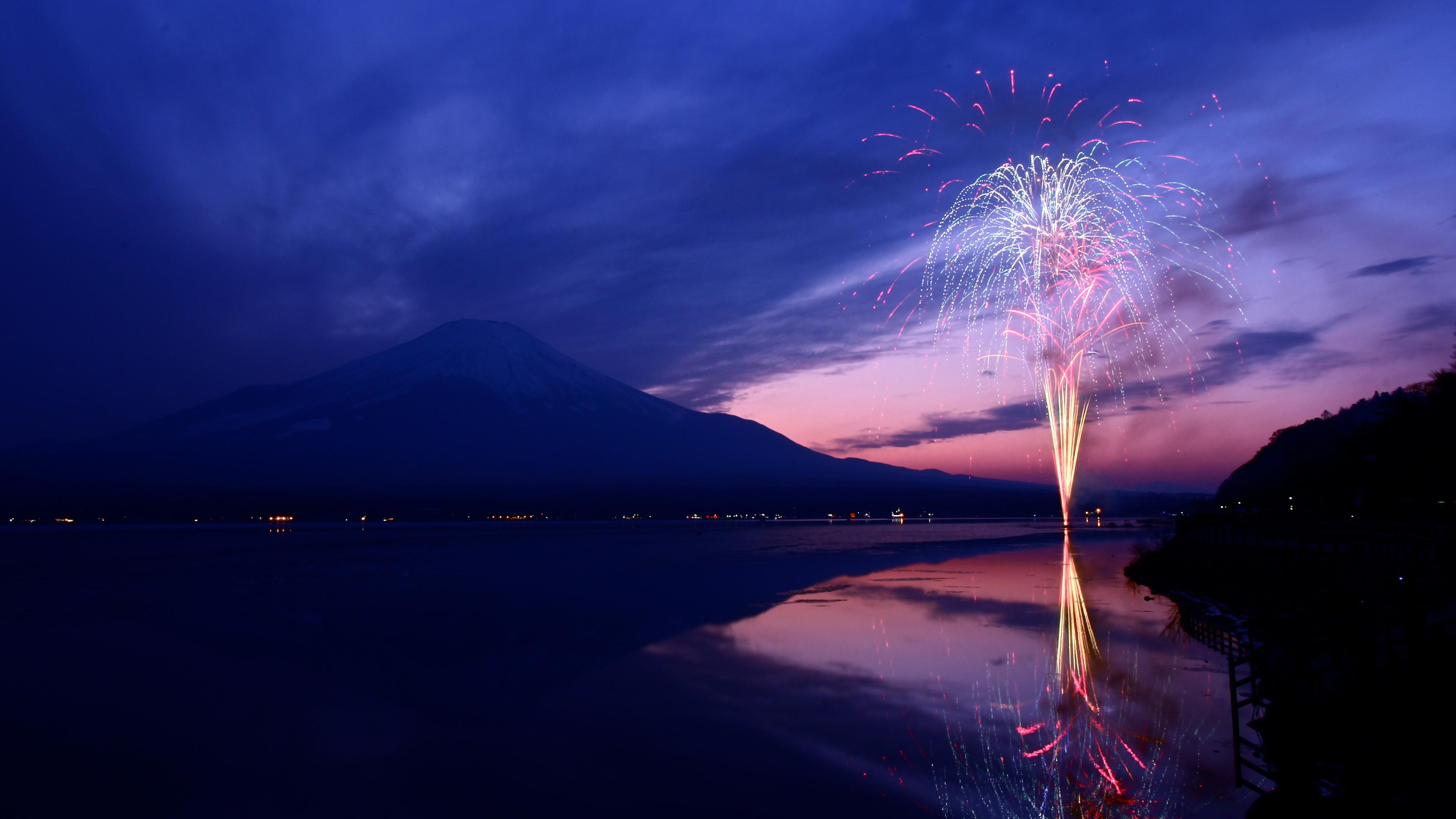 Wallpaper 4k Mount Fuji Fireworks Japan 4k 4k Wallpapers Hd