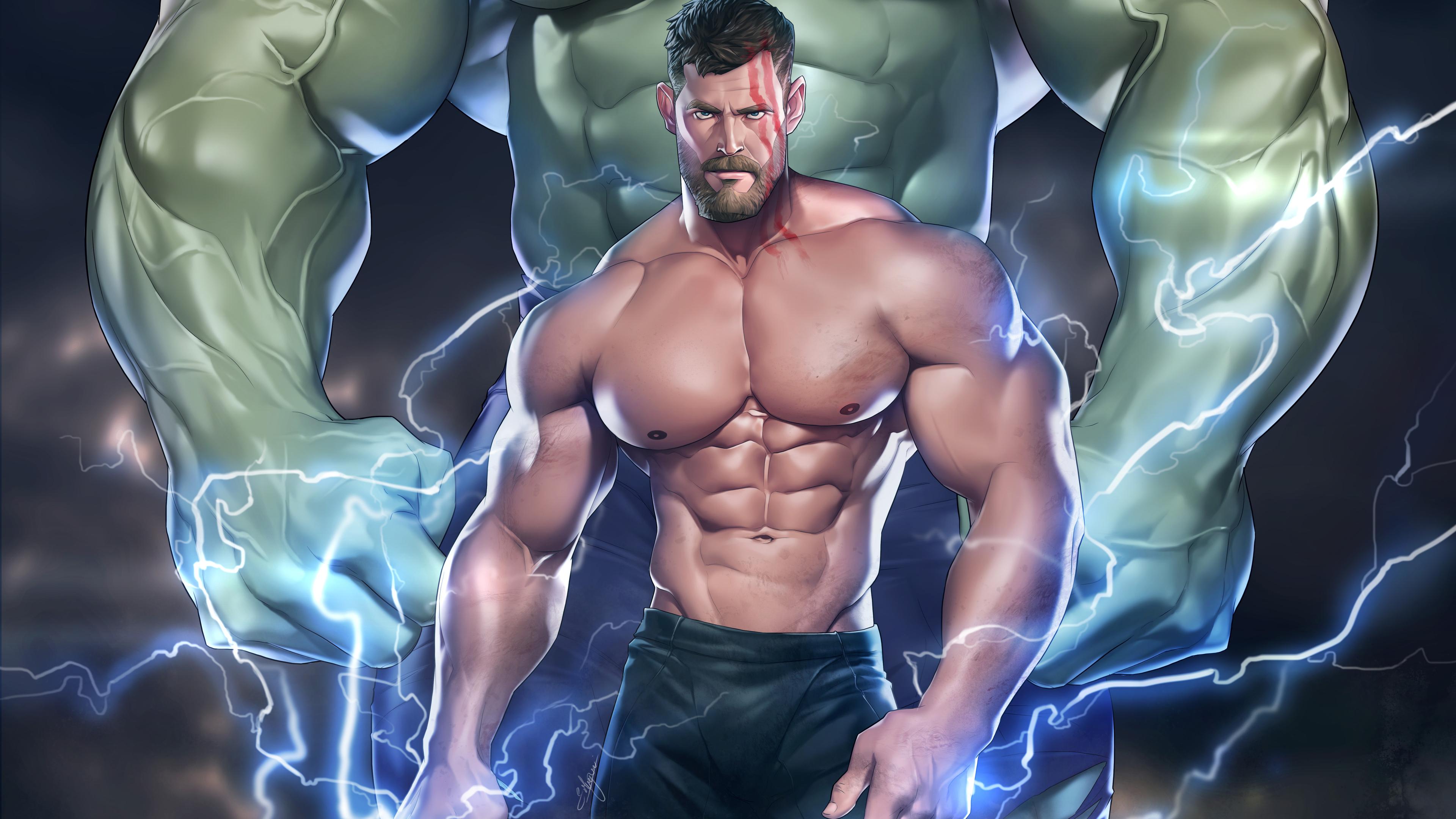 muscular thor 4k 1553072193 - Muscular Thor 4k - thor wallpapers, superheroes wallpapers, hd-wallpapers, digital art wallpapers, deviantart wallpapers, artwork wallpapers, artist wallpapers, 5k wallpapers, 4k-wallpapers