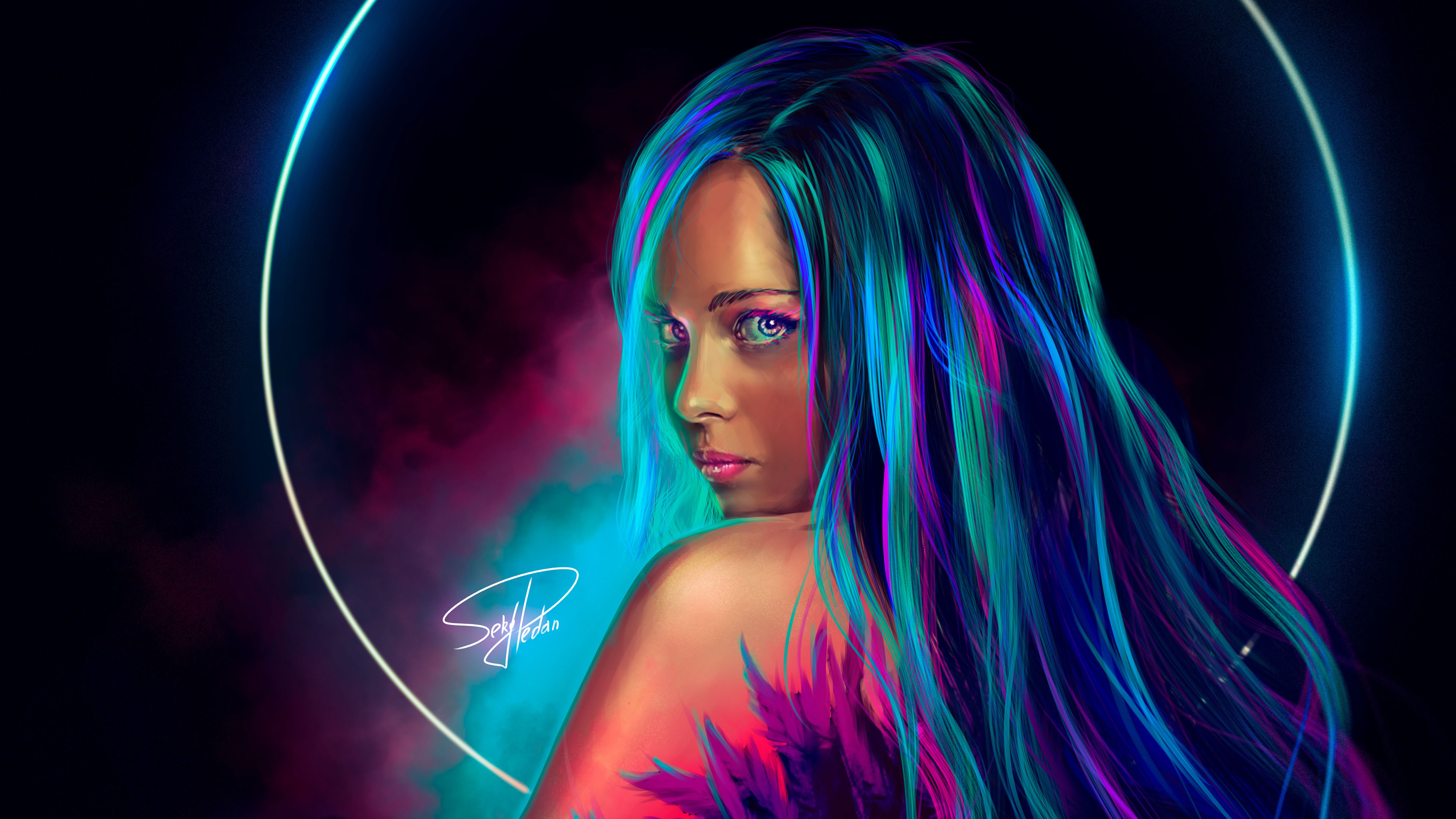 Wallpaper 4k Neon Girl Digital Art 4k 4k Wallpapers Artist Wallpapers Artwork Wallpapers Behance Wallpapers Digital Art Wallpapers Hd Wallpapers Neon Wallpapers