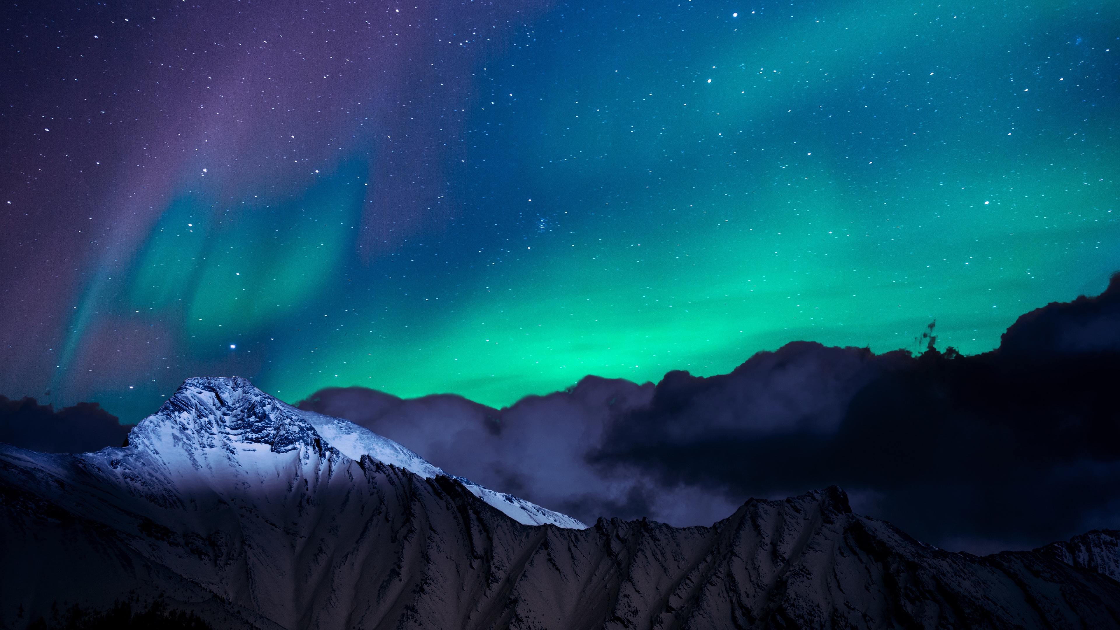 Wallpaper 4k Northern Lights Night Sky Mountains Landscape