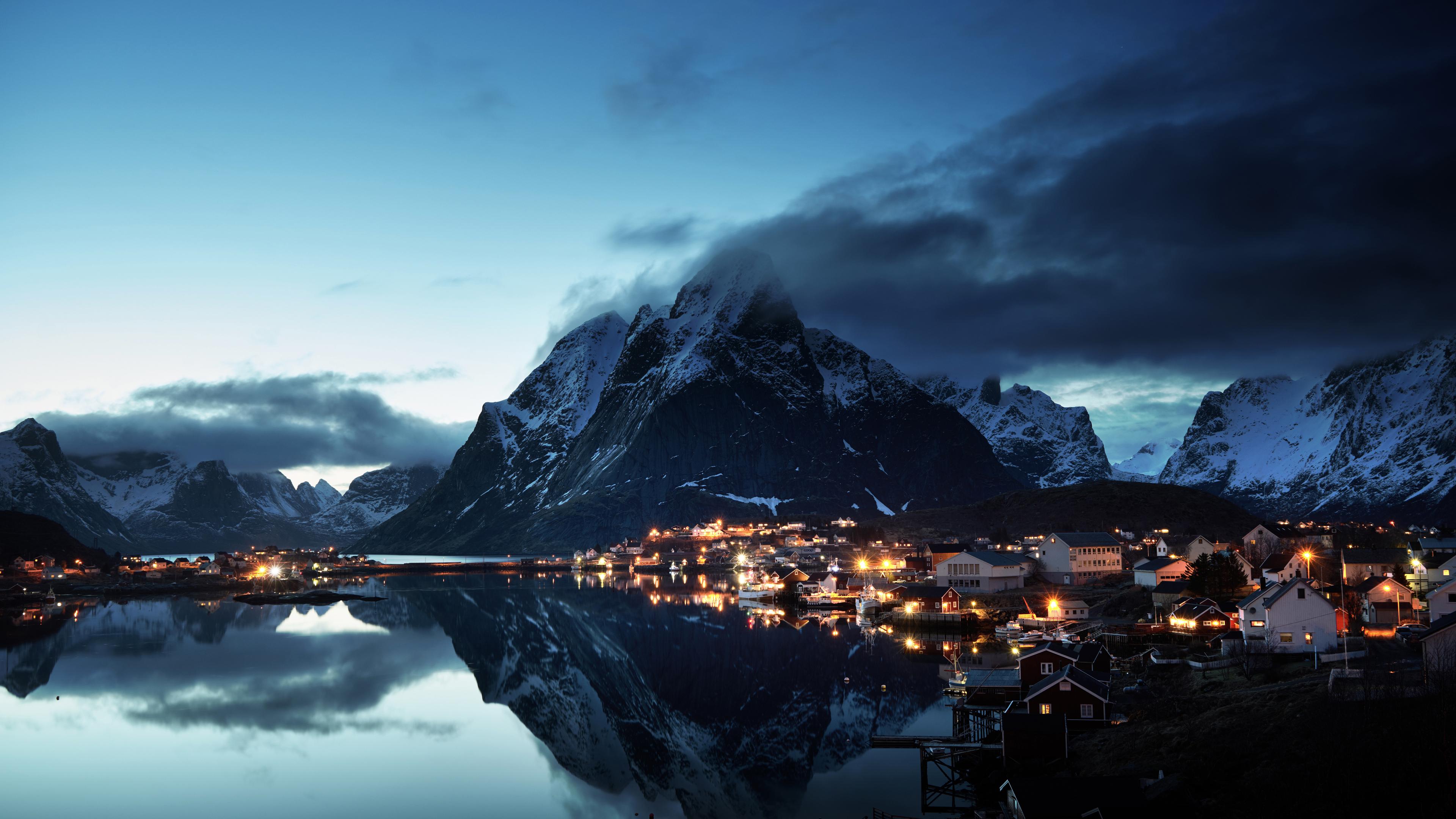 Wallpaper 4k Norway Lofoten Mountains Evening Coast 4k 4k
