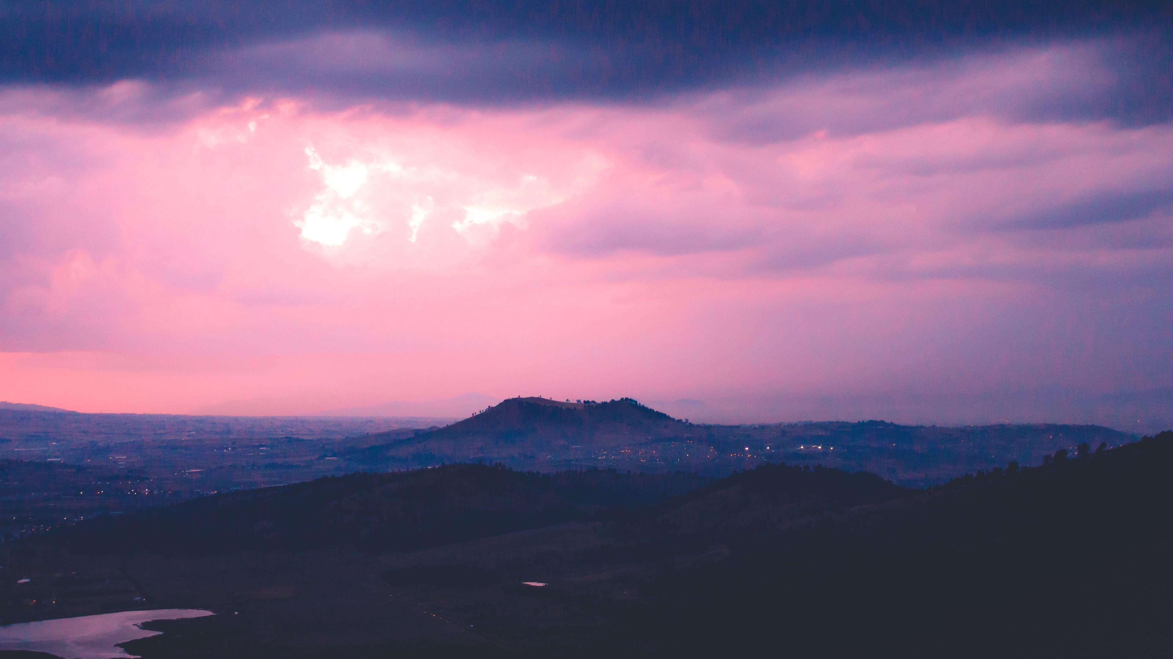 Wallpaper 4k Pink Sky Cloud Mountain 4k 4k Wallpapers Cloud