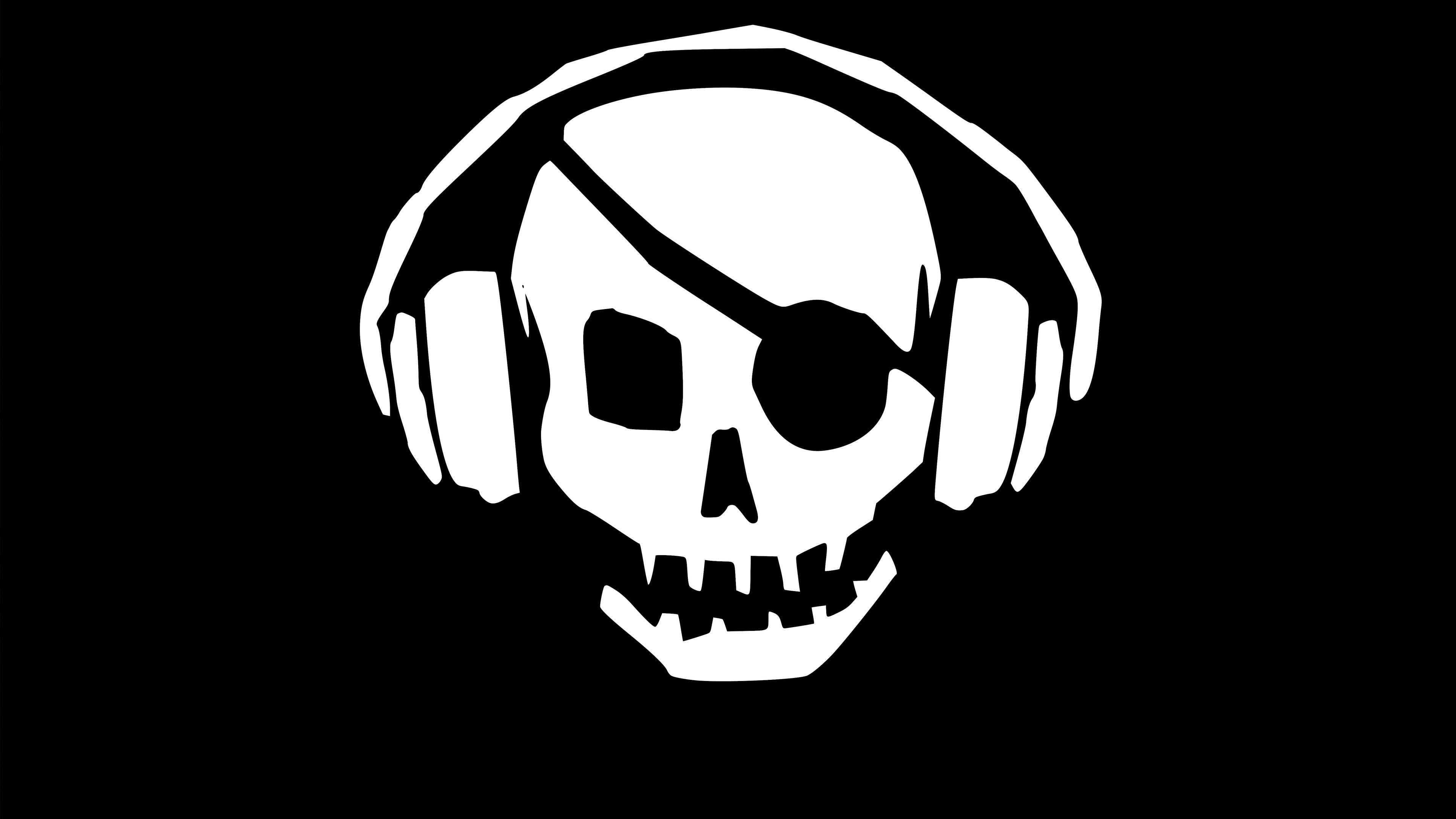 pirate skull headphones 4k 1551642335 - Pirate Skull Headphones 4k - skull wallpapers, pirate wallpapers, headphones wallpapers, hd-wallpapers, 4k-wallpapers