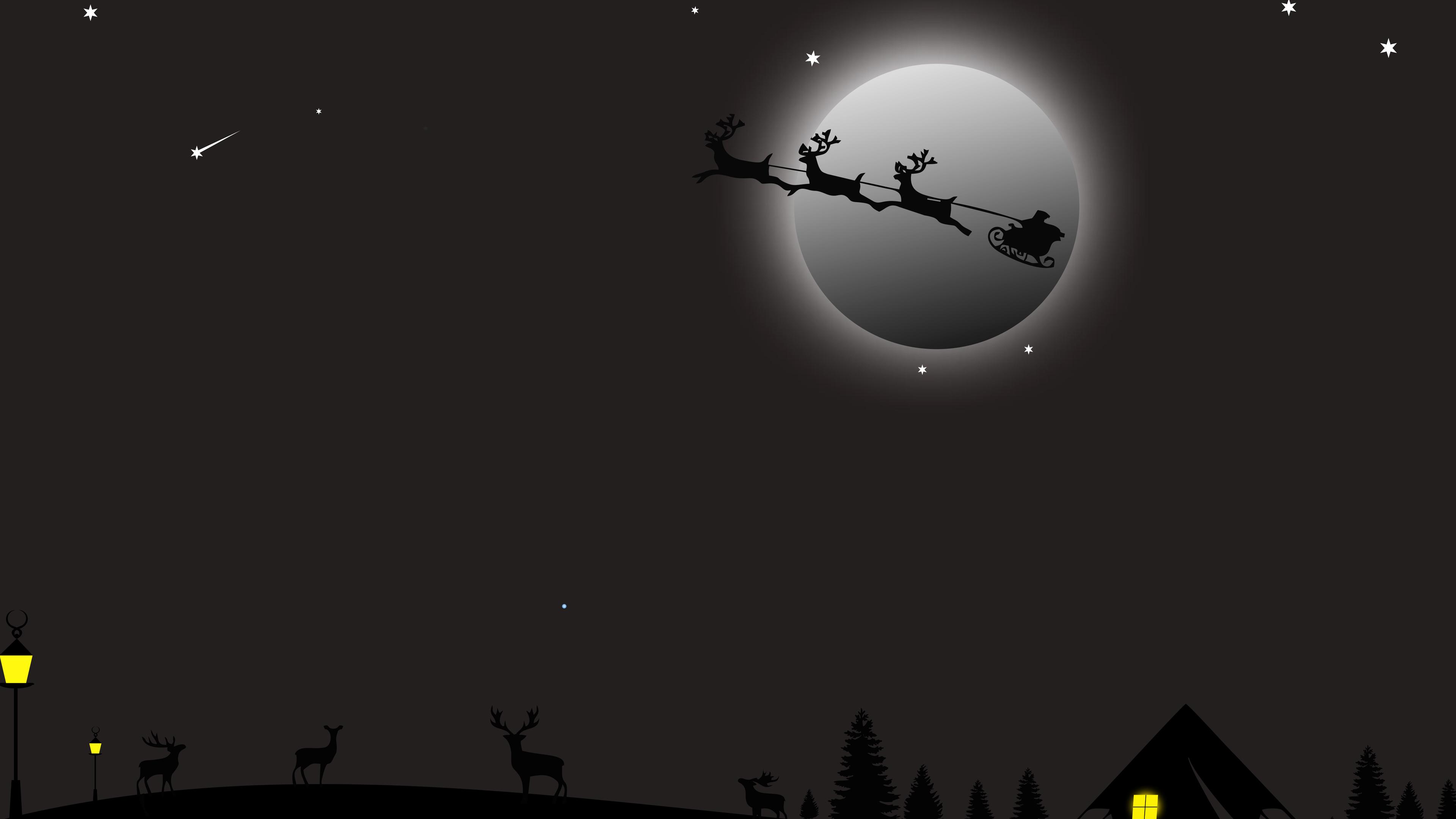 Wallpaper 4k Santa Claus Deer Ride 4k 4k Wallpapers 5k Wallpapers