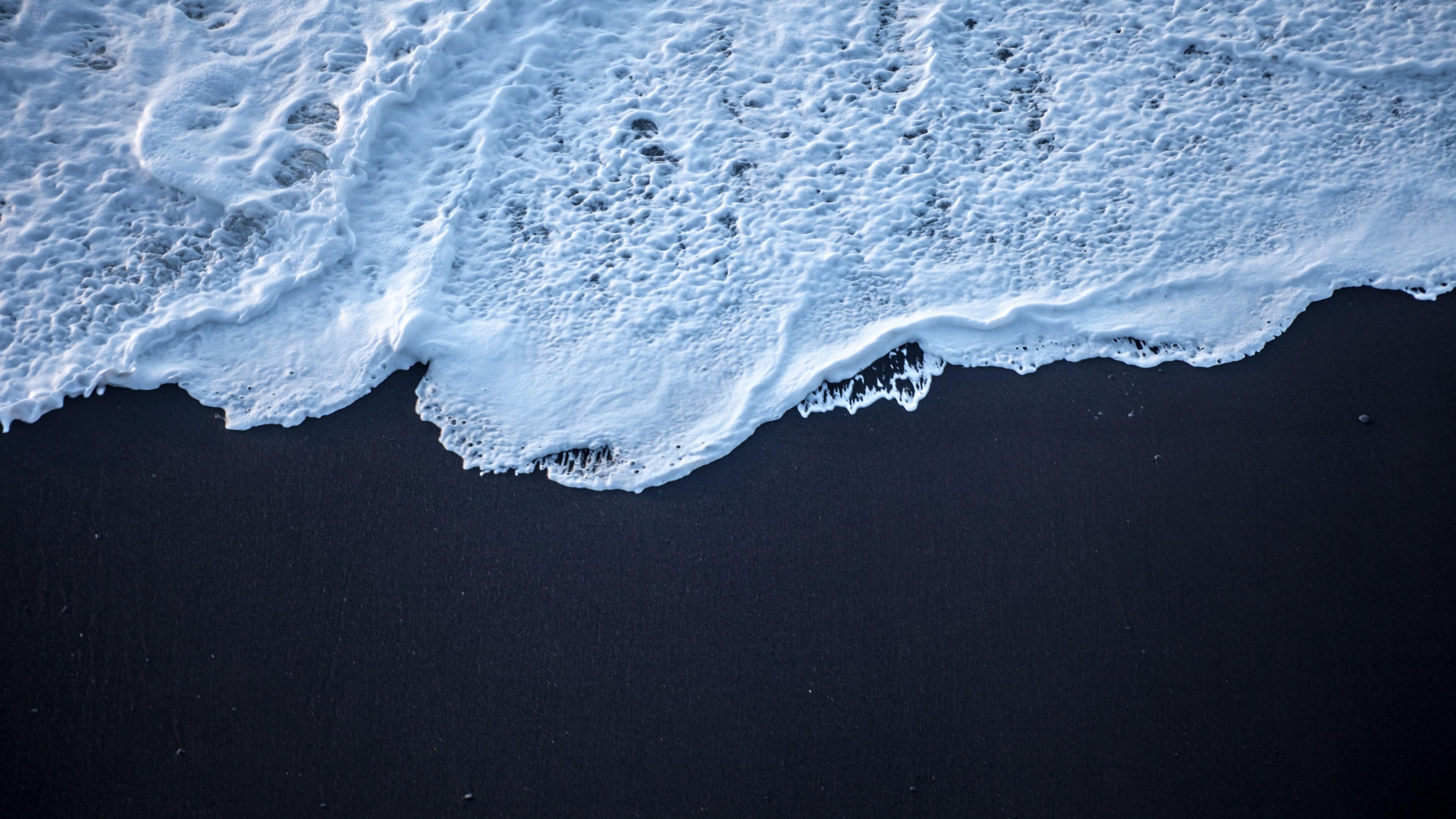 Wallpaper 4k Sea Foam Black Sand 4k 4k Wallpapers Black