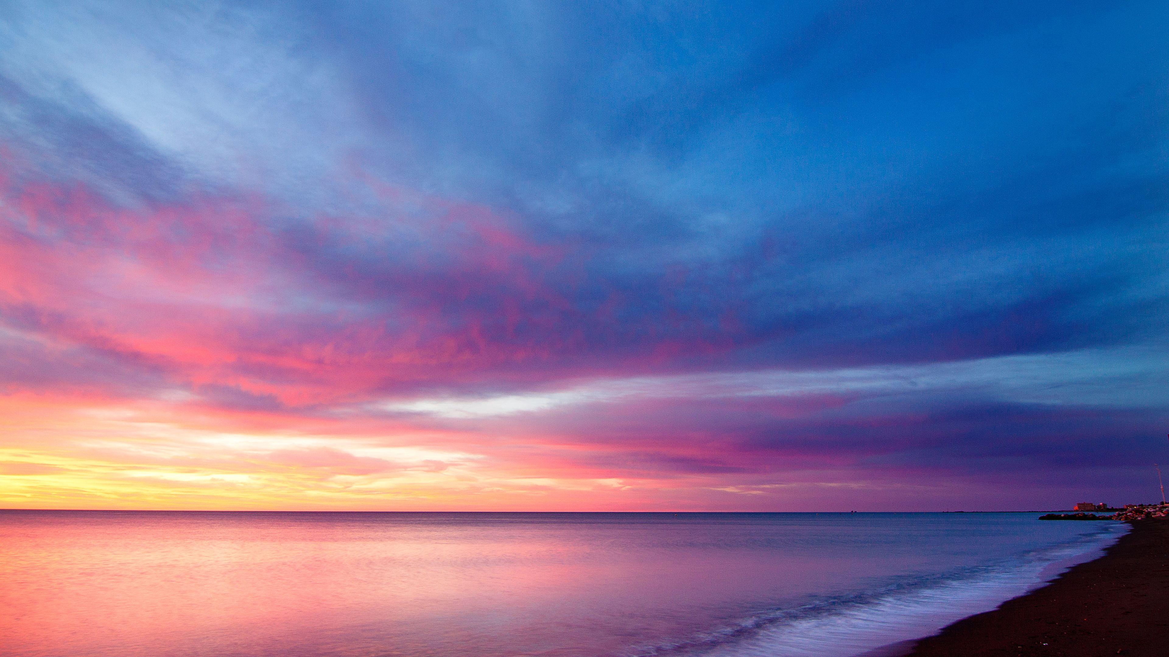 sea line purple sky 4k 1551643628 - Sea Line Purple Sky 4k - sky wallpapers, sea wallpapers, purple wallpapers, nature wallpapers, hd-wallpapers, 4k-wallpapers
