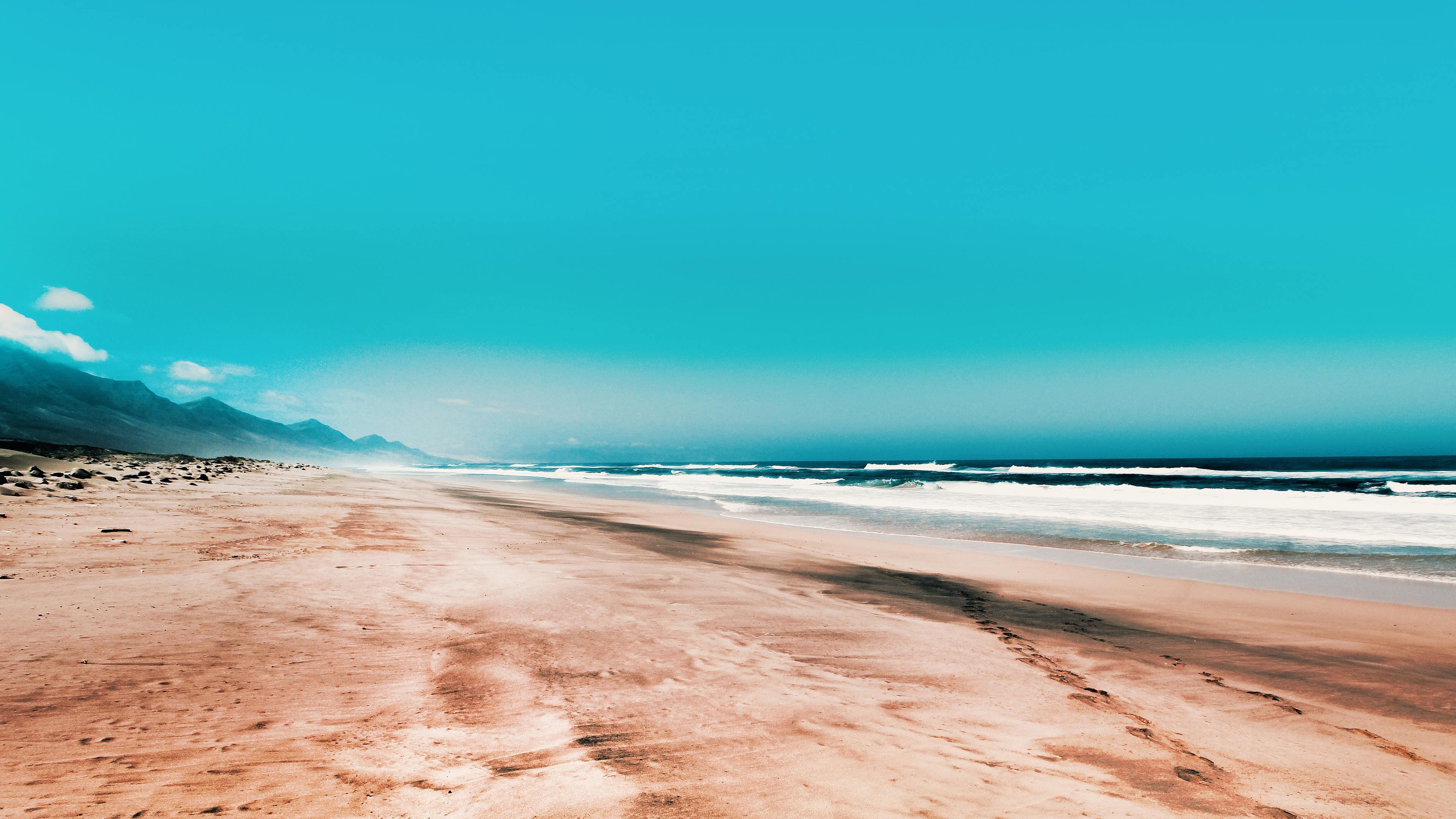 Seashore Under Clear Blue Sky 4k sky wallpapers, seashore ...