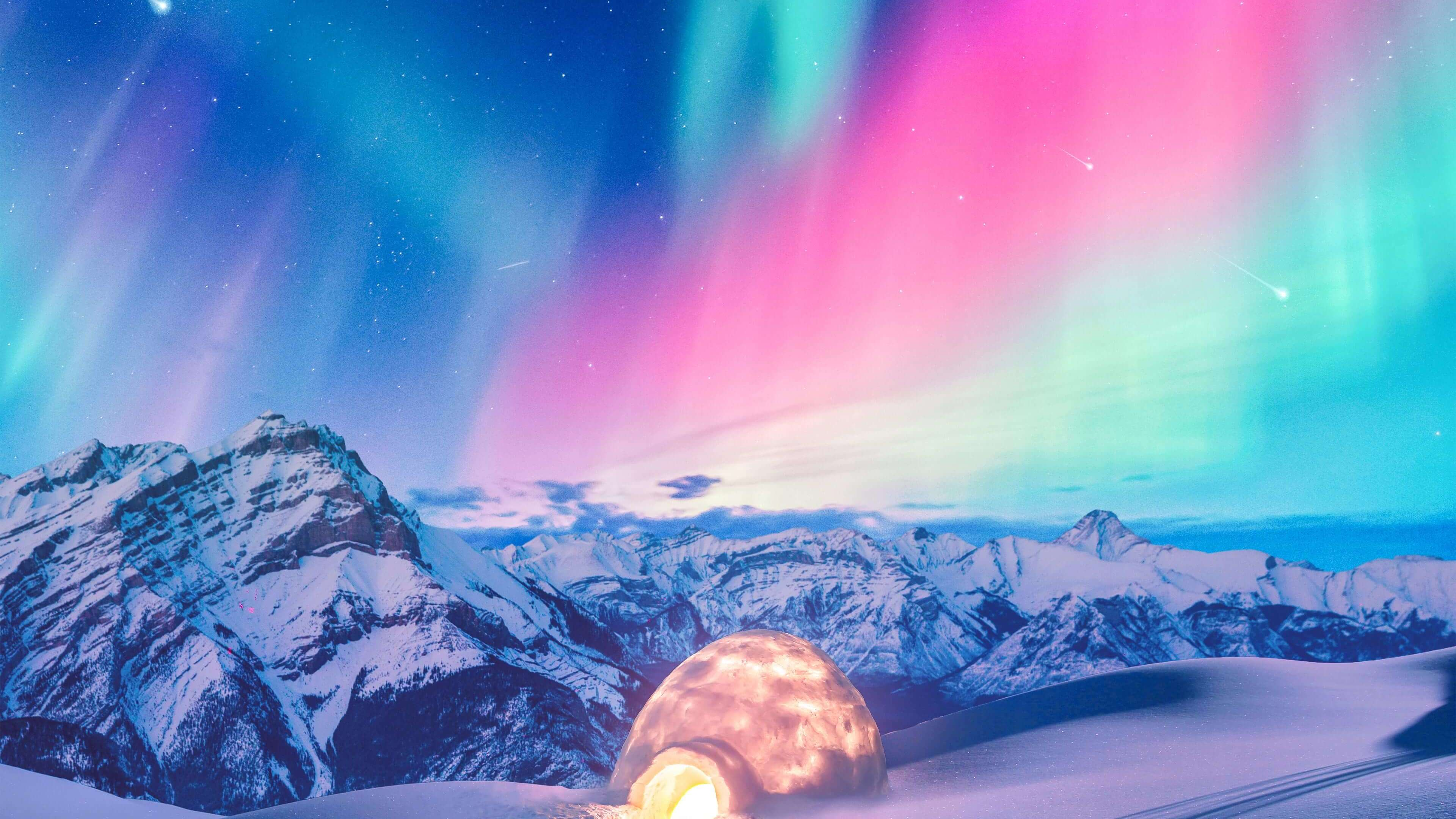 Wallpaper 4k Snow Winter Iceland Aurora Northern Lights 4k