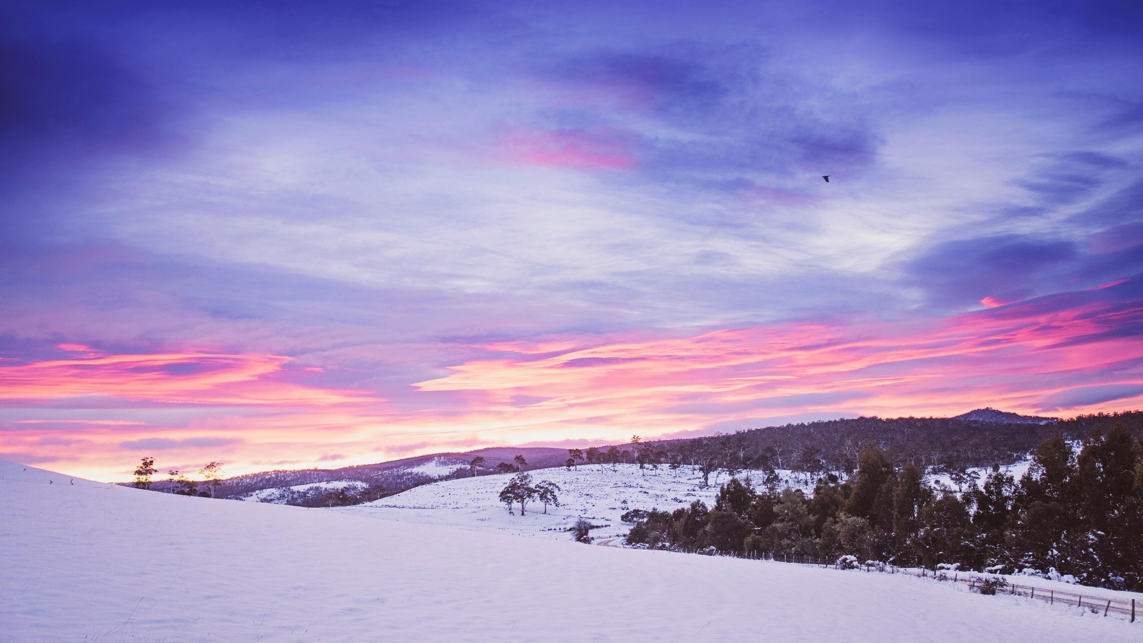 Snowy Mountains Landscape 4k