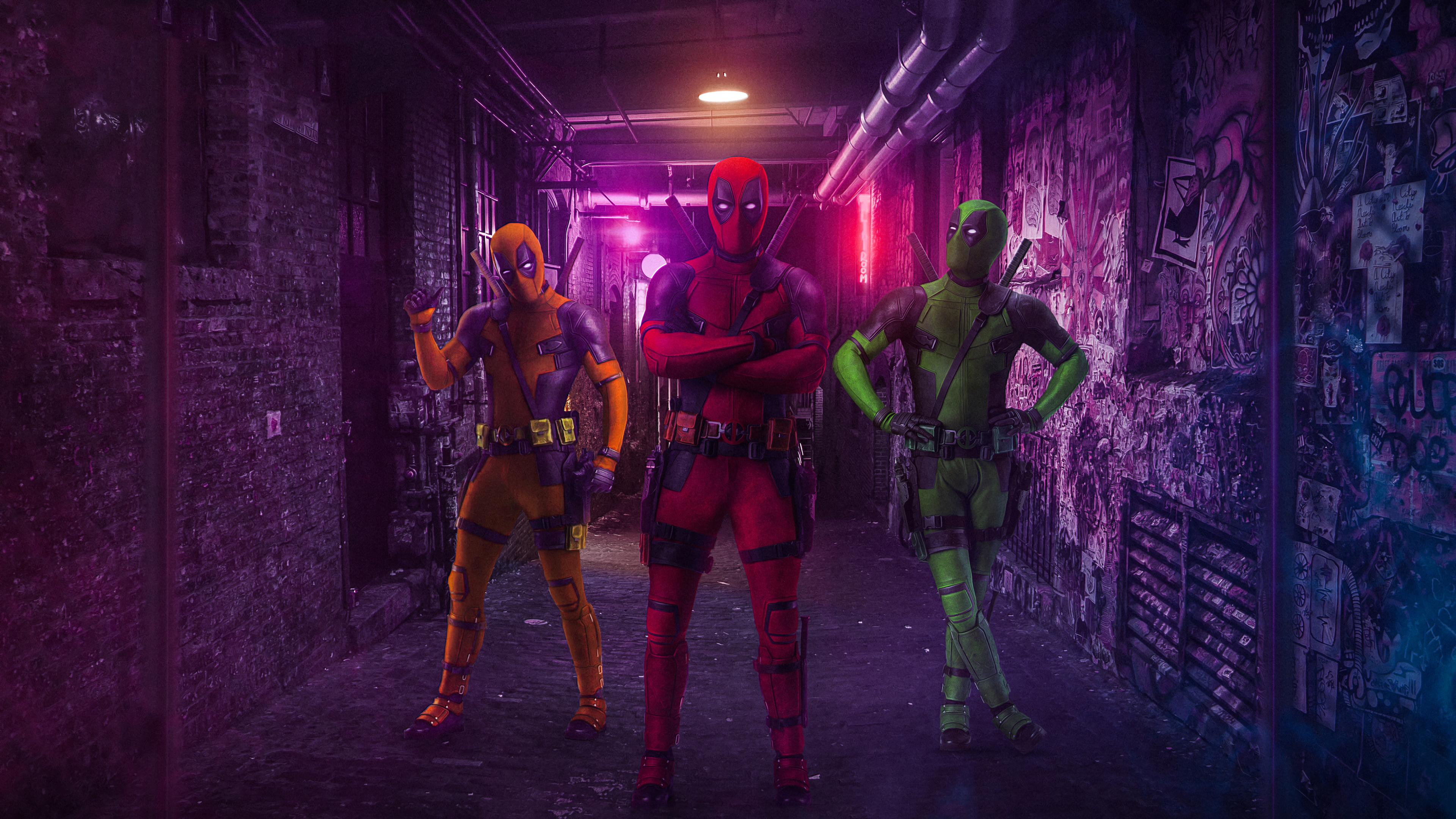 three deadpools 4k 1553071709 - Three Deadpools 4k - superheroes wallpapers, hd-wallpapers, deadpool wallpapers, behance wallpapers, 4k-wallpapers