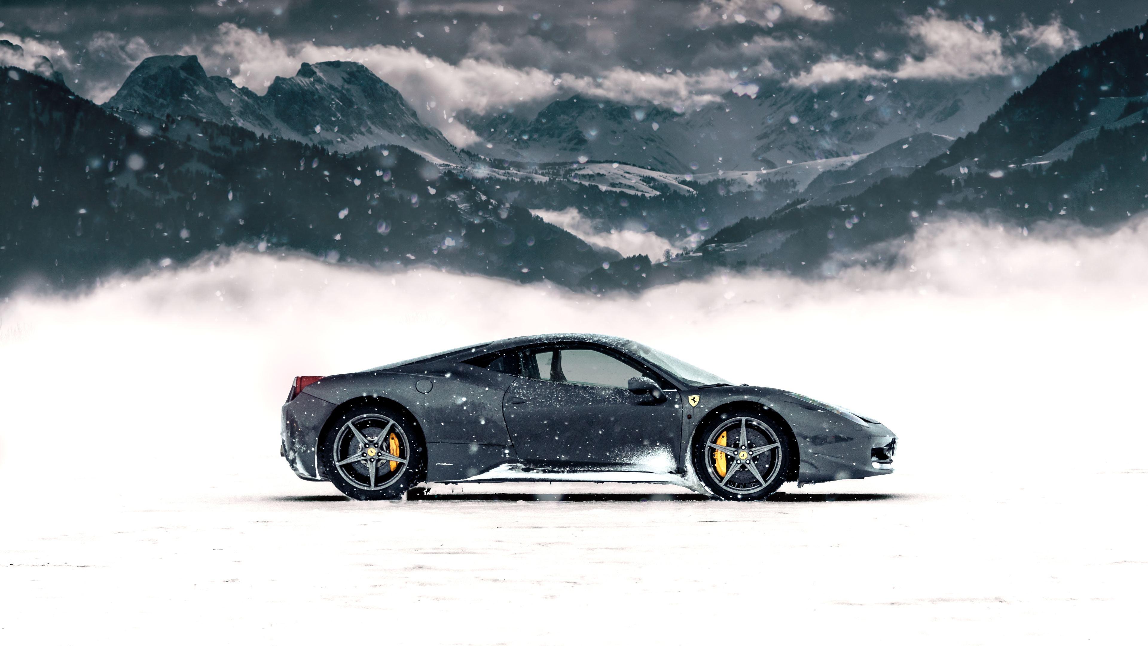 ferrari in snow 4k 1556185150 - Ferrari In Snow 4k - snow wallpapers, nature wallpapers, hd-wallpapers, ferrari wallpapers, 5k wallpapers, 4k-wallpapers