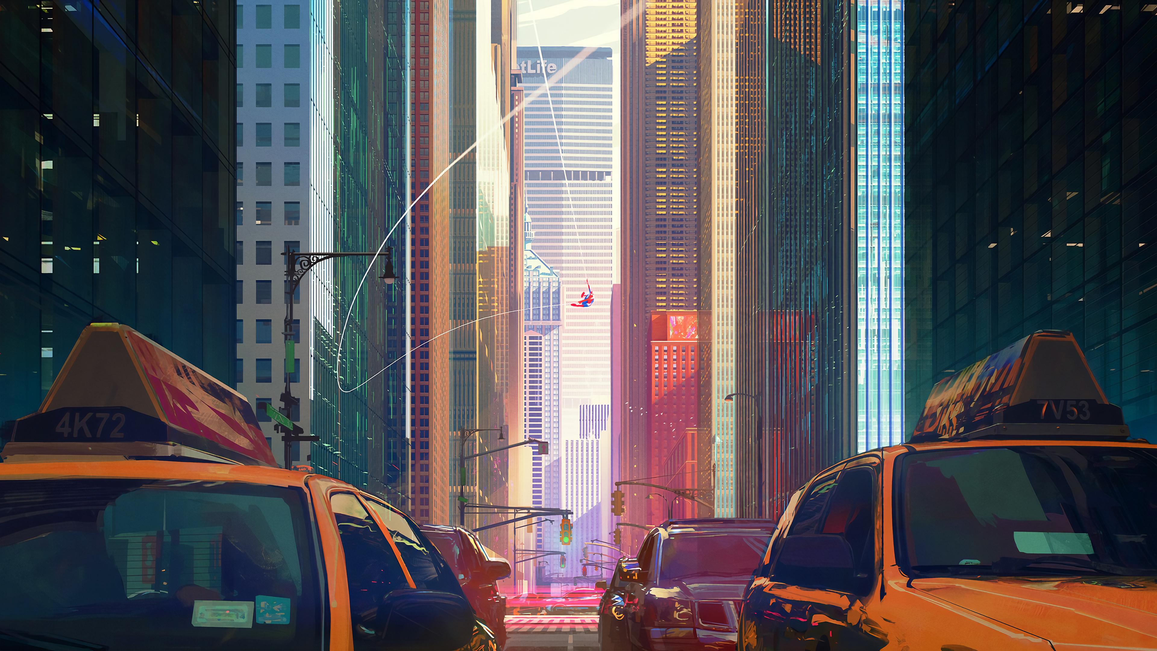 spiderman city buildings 4k 1554244896 - Spiderman City Buildings 4k - superheroes wallpapers, spiderman wallpapers, spiderman into the spider verse wallpapers, hd-wallpapers, digital art wallpapers, artwork wallpapers, artstation wallpapers, artist wallpapers, 4k-wallpapers