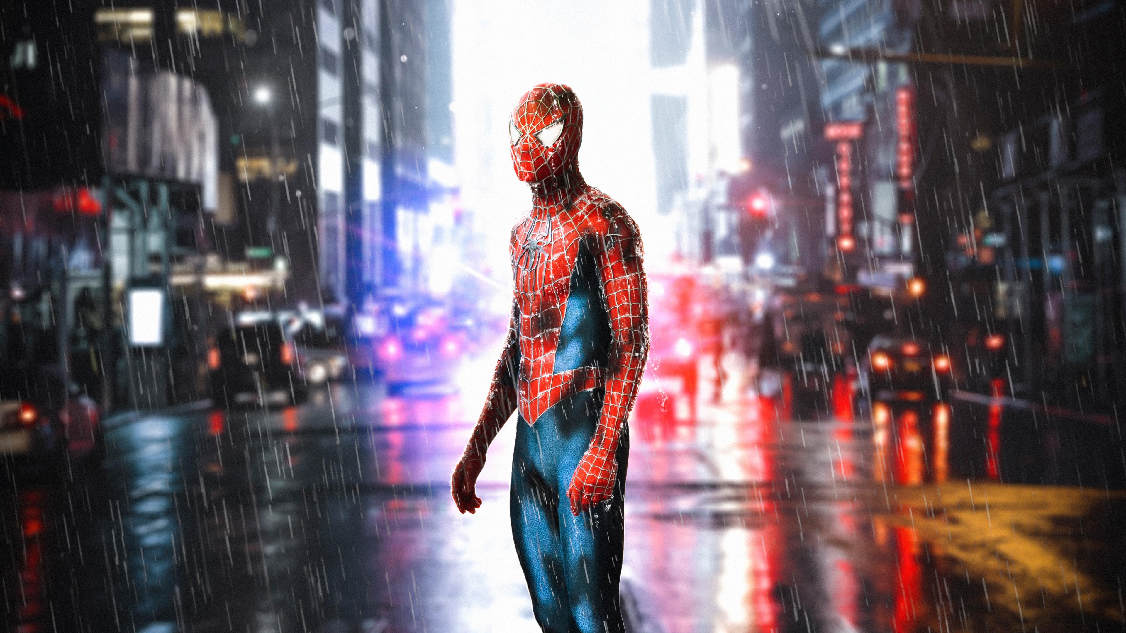 spiderman standing in rain 4k 1555206608 - Spiderman Standing In Rain 4k - superheroes wallpapers, spiderman wallpapers, hd-wallpapers, digital art wallpapers, deviantart wallpapers, 4k-wallpapers