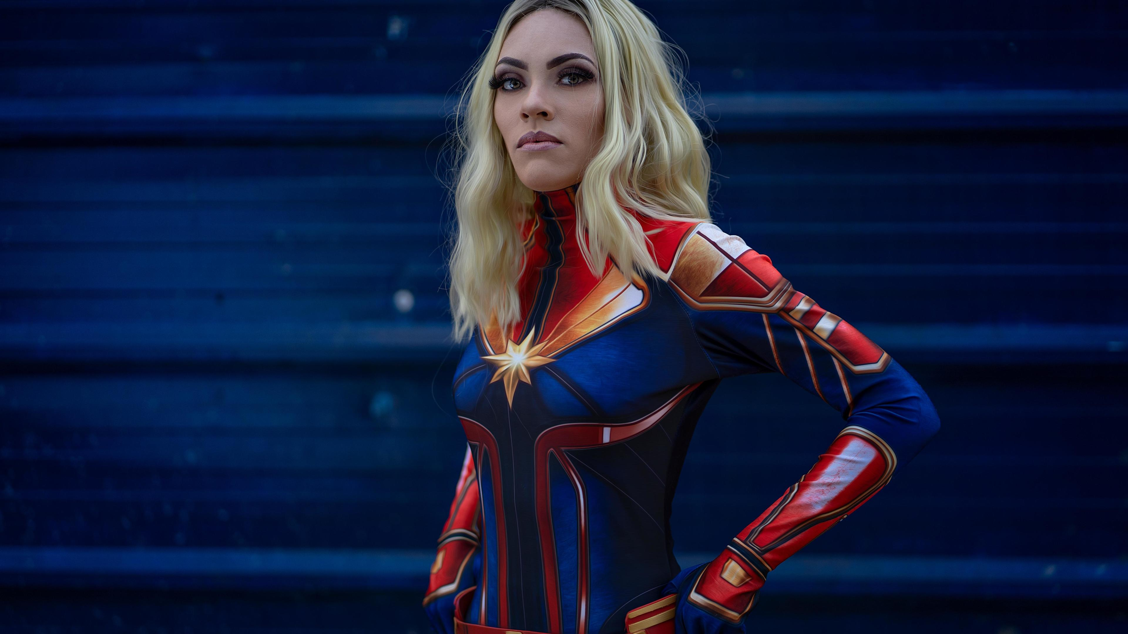 cosplay captain marvel 4k 1557260284 - Cosplay Captain Marvel 4k - superheroes wallpapers, hd-wallpapers, cosplay wallpapers, captain marvel wallpapers, 5k wallpapers, 4k-wallpapers
