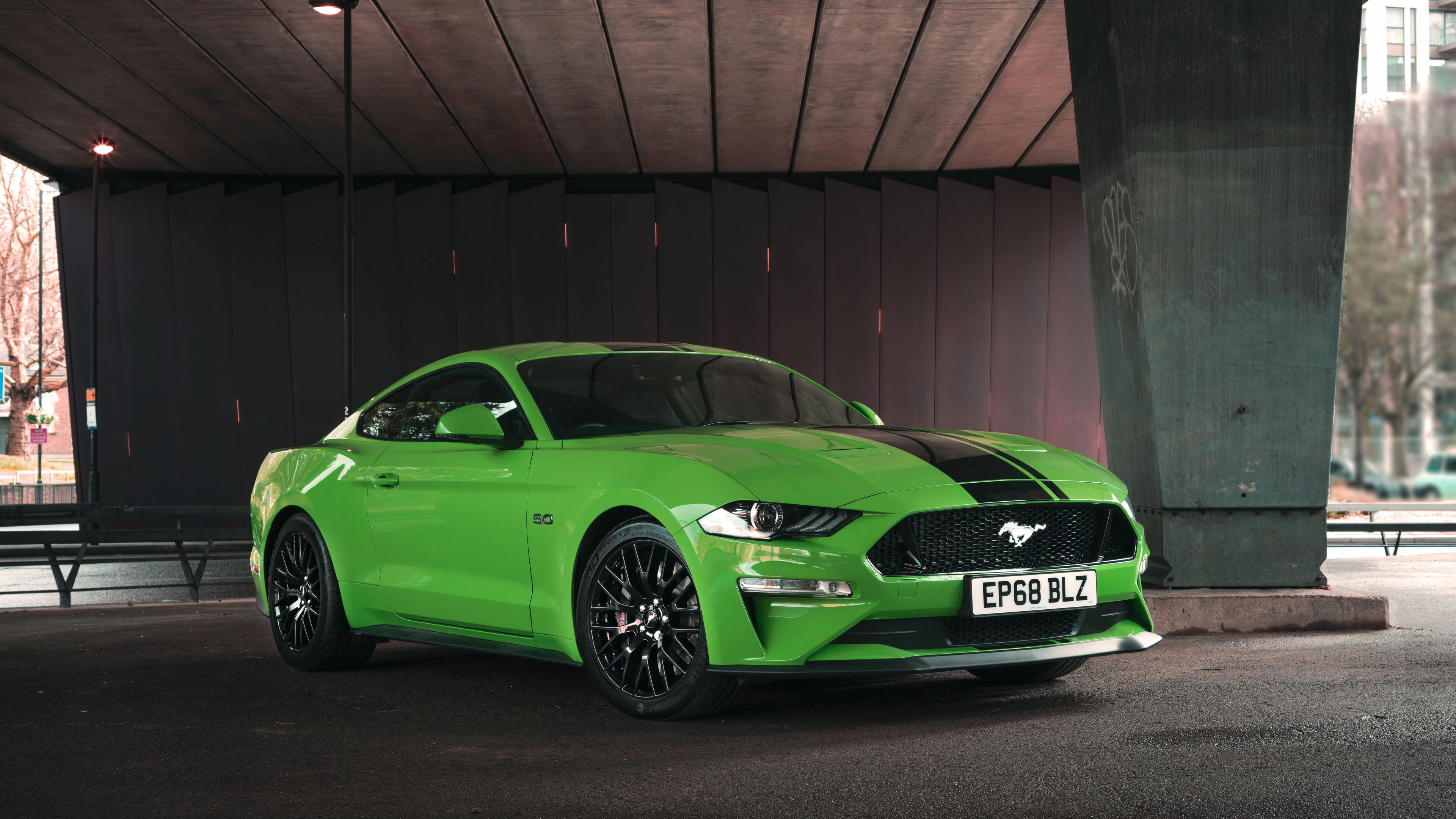 4k Green Ford Mustang GT Fastback 2019