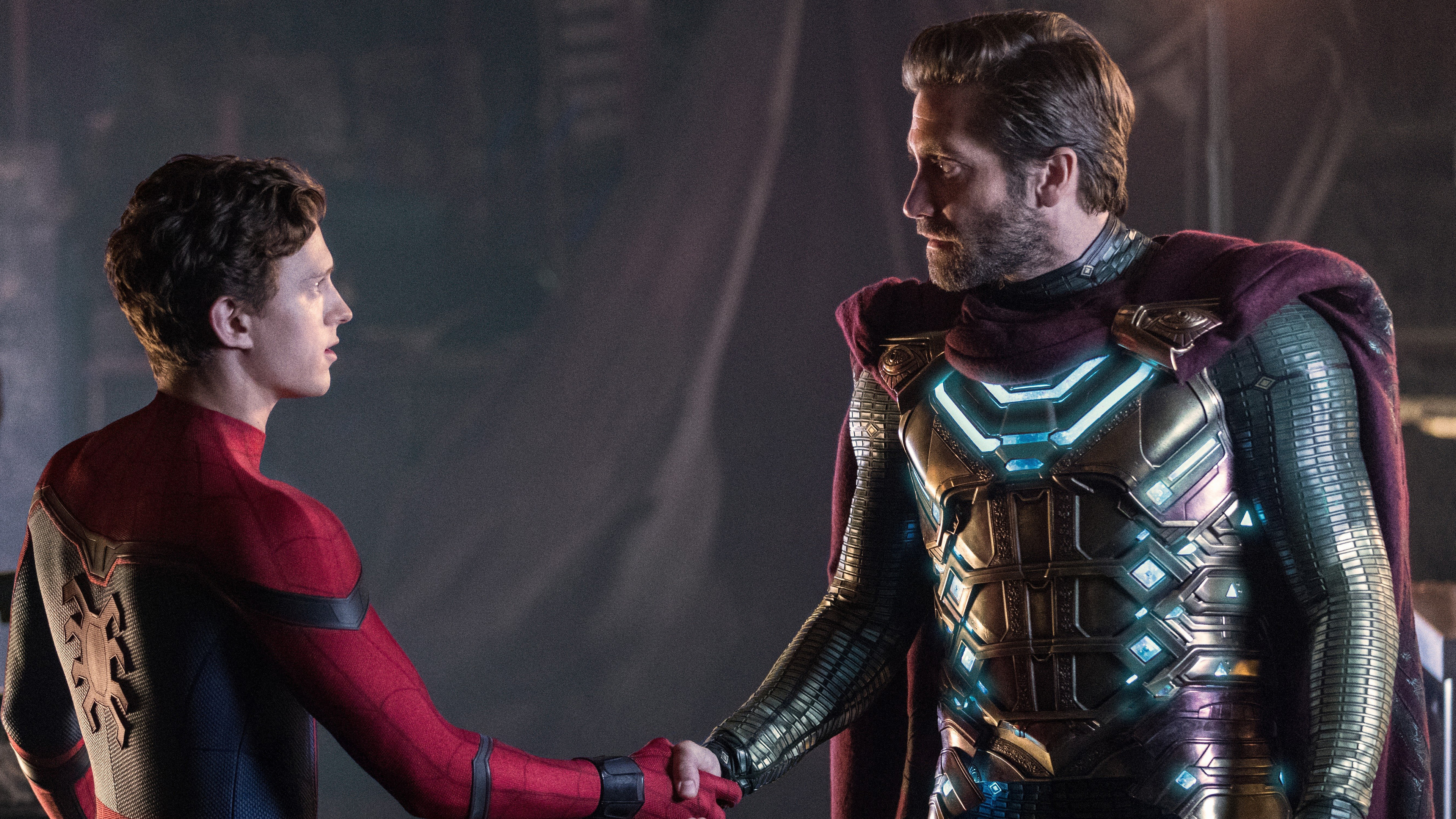 spider man far from home and mysterio 4k 1558220208 - Spider Man Far From Home And Mysterio 4k - tom holland wallpapers, superheroes wallpapers, spiderman wallpapers, spiderman far from home wallpapers, mysterio wallpapers, movies wallpapers, hd-wallpapers, 4k-wallpapers, 2019 movies wallpapers