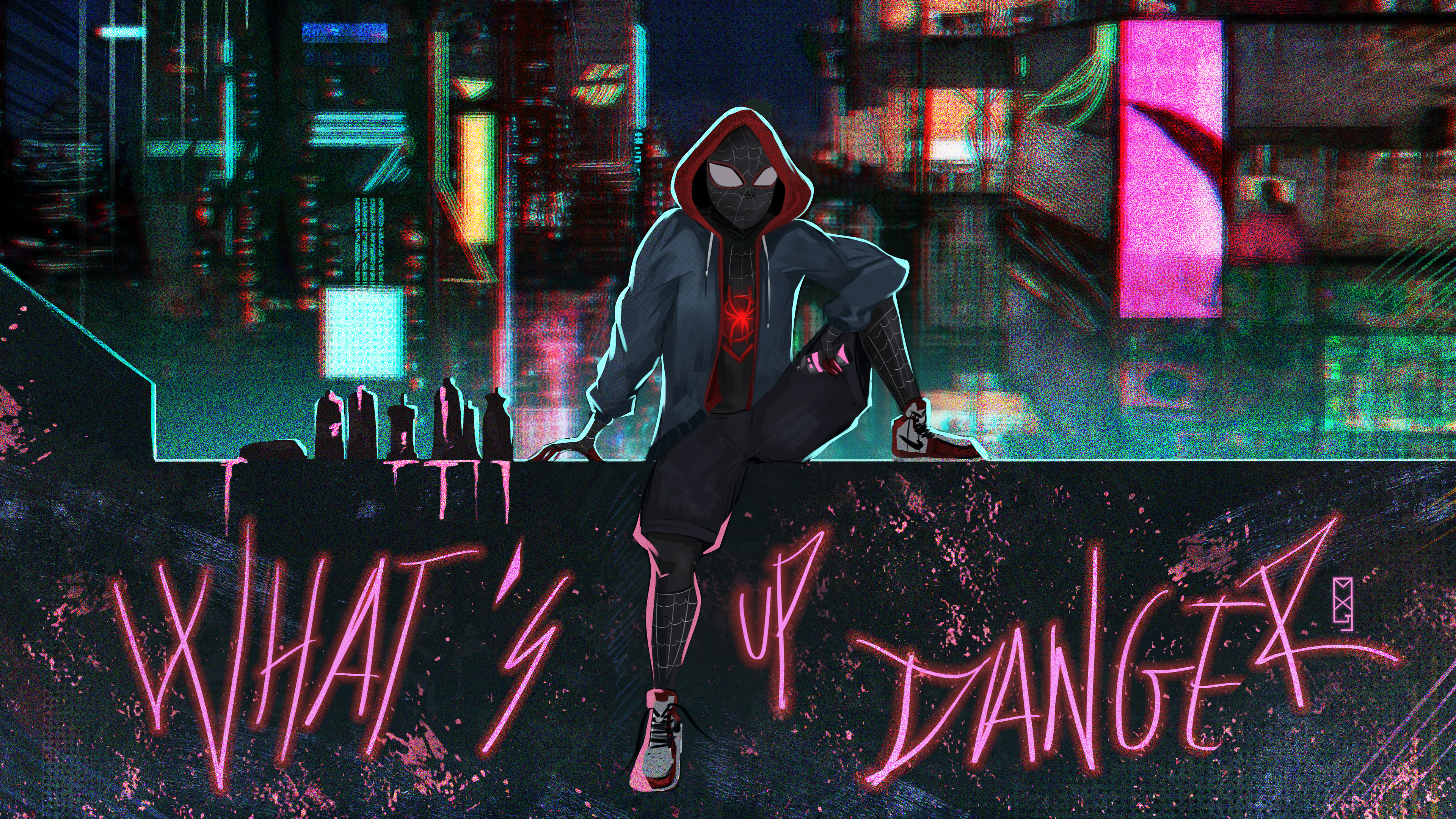 spider verse what up danger 4k 1557260149 - Spider Verse What Up Danger 4k - superheroes wallpapers, spiderman wallpapers, spiderman into the spider verse wallpapers, hd-wallpapers, digital art wallpapers, deviantart wallpapers, artwork wallpapers, artist wallpapers, 4k-wallpapers