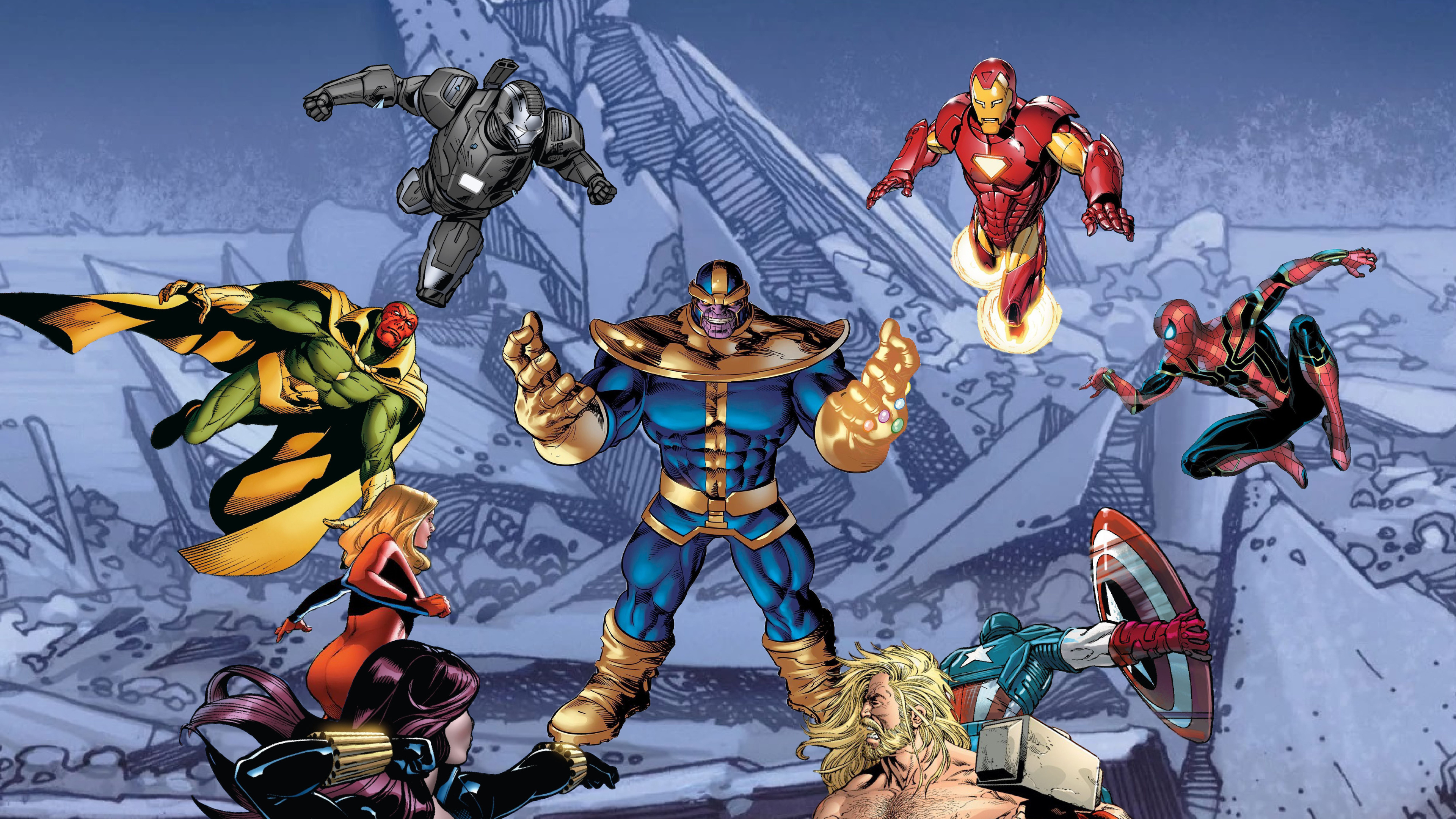 thanos vs superheroes 4k 1557260037 - Thanos Vs Superheroes 4k - war machine wallpapers, thor wallpapers, thanos-wallpapers, superheroes wallpapers, spiderman wallpapers, iron man wallpapers, hd-wallpapers, digital art wallpapers, captain marvel wallpapers, captain america wallpapers, artwork wallpapers, artist wallpapers, 8k wallpapers, 5k wallpapers, 4k-wallpapers
