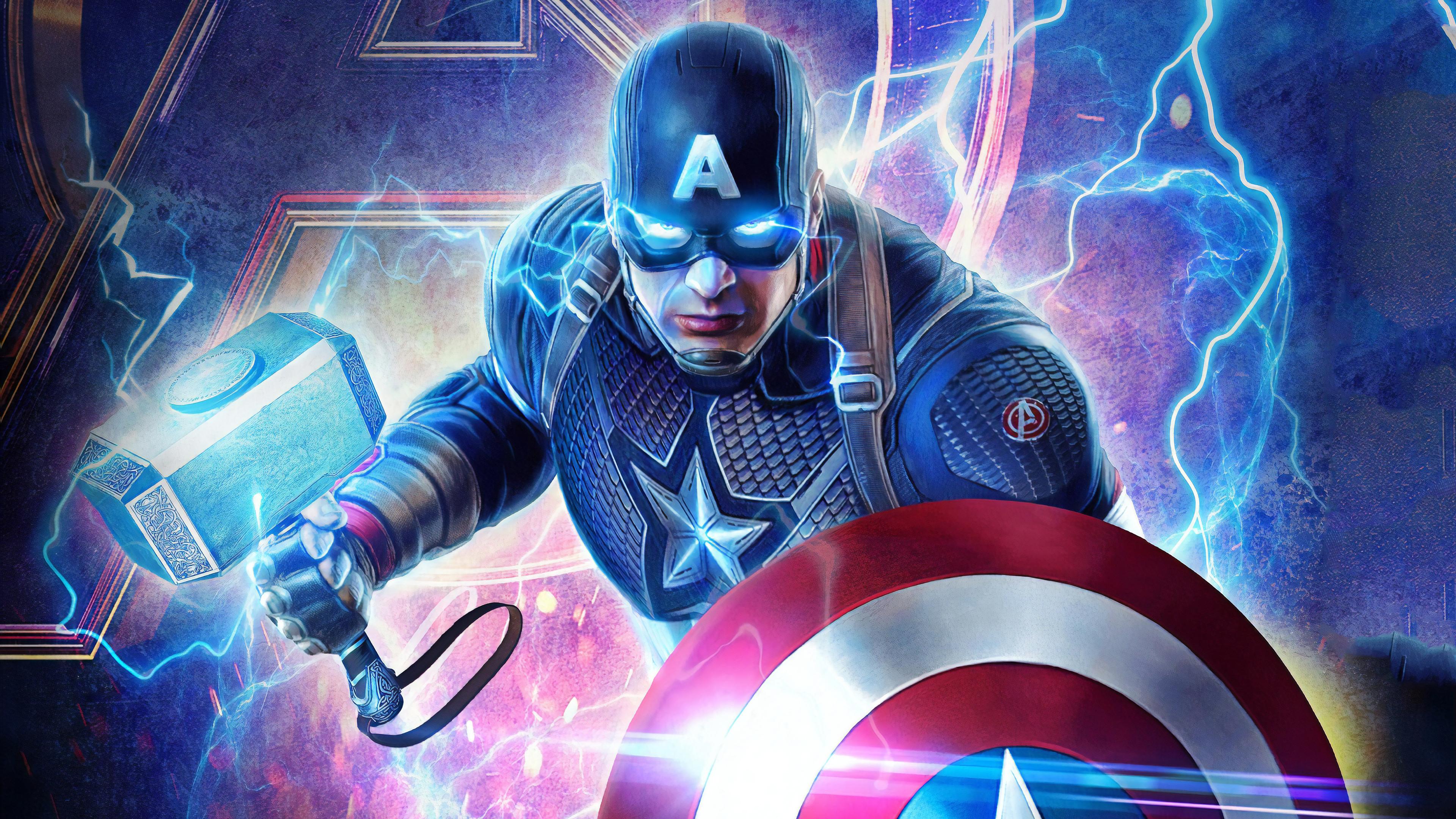 Wallpaper 4k 2019 Captain America Mjolnir Avengers Endgame 4k 4k