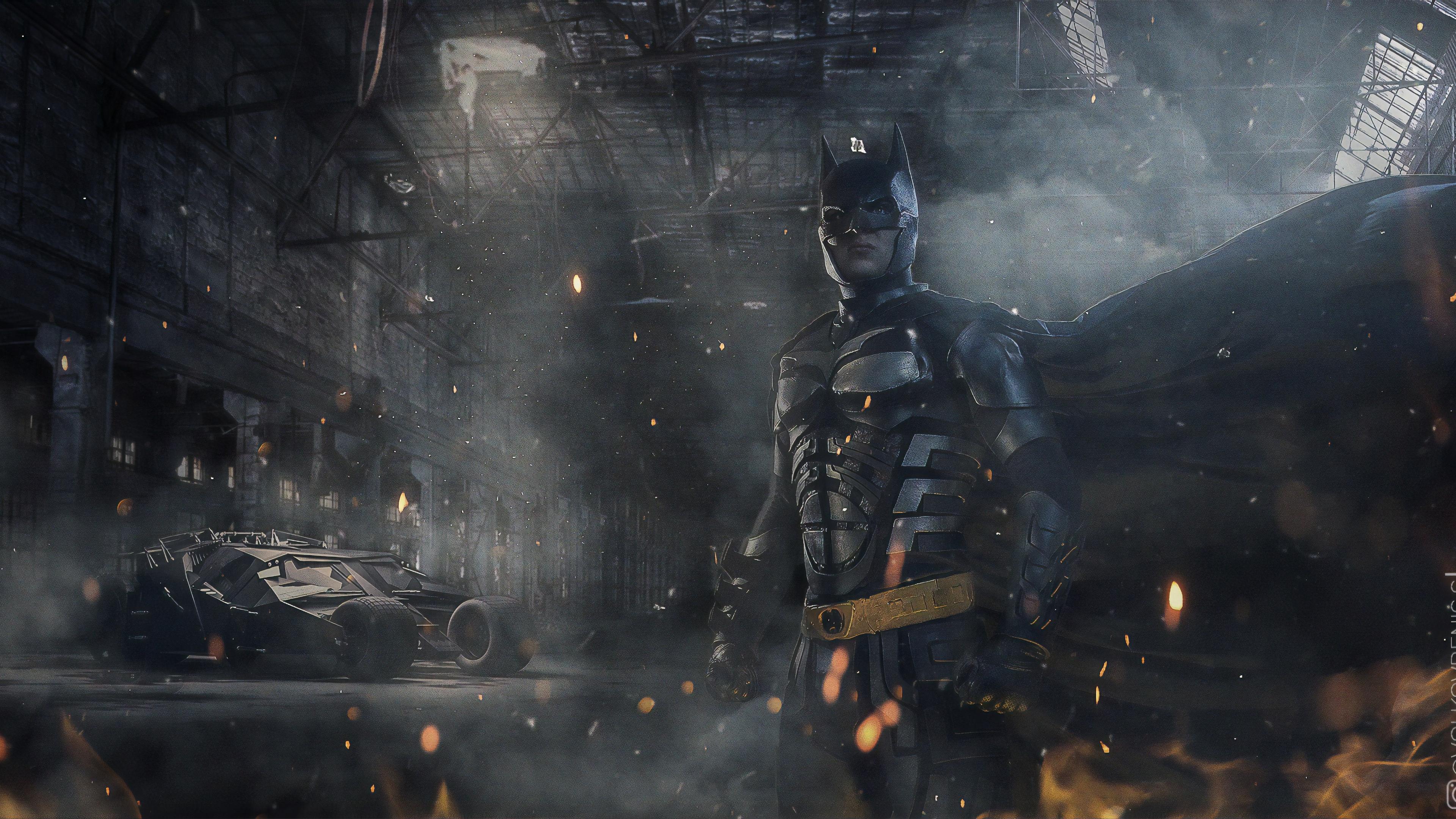 batman with batmobile 4k 1559764224 - Batman With Batmobile 4k - superheroes wallpapers, hd-wallpapers, cosplay wallpapers, behance wallpapers, batman wallpapers, 4k-wallpapers