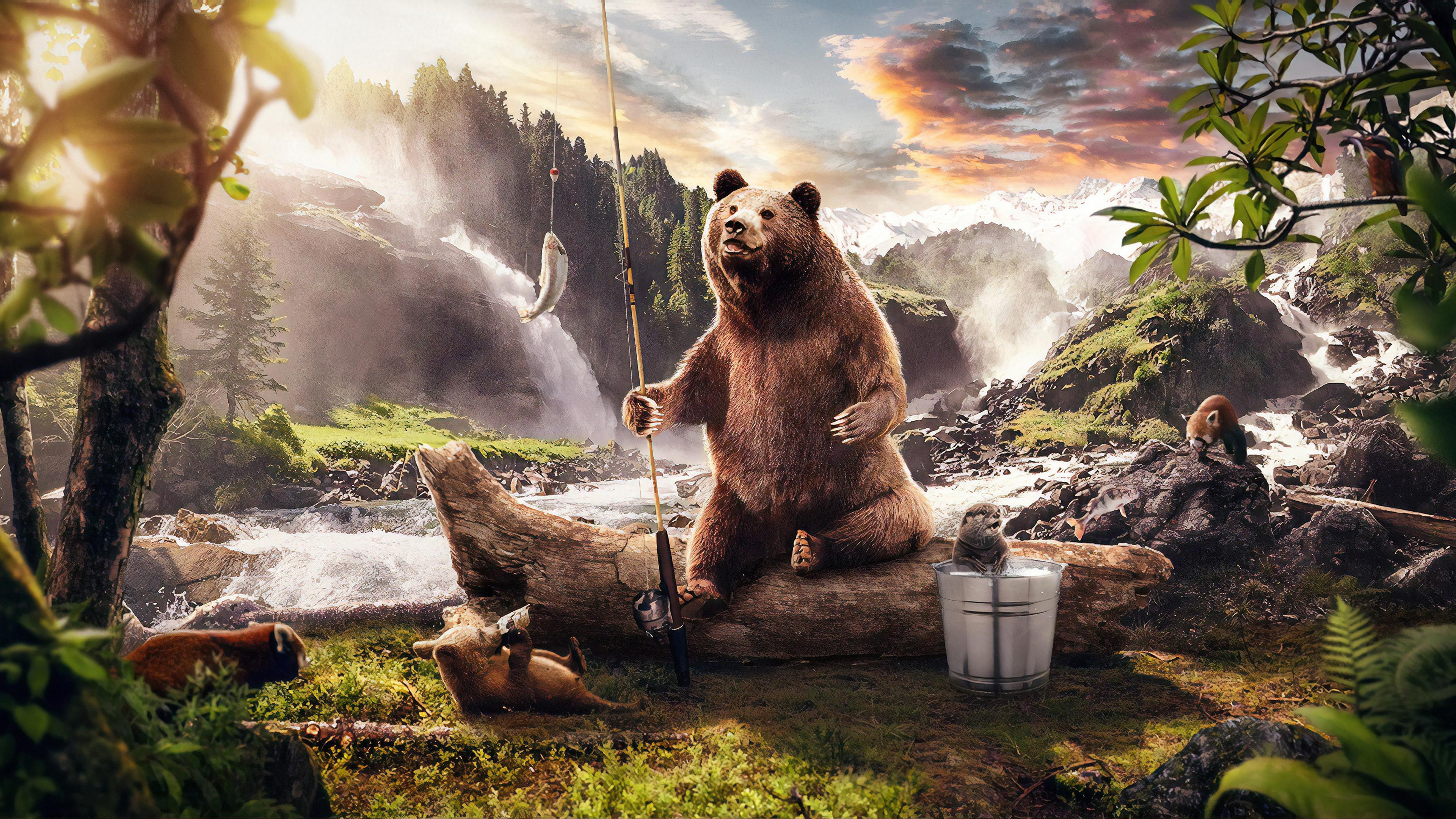 bear in jungle along side river 1560535257 - Bear In Jungle Along Side River - hd-wallpapers, digital art wallpapers, behance wallpapers, bear wallpapers, artist wallpapers, animals wallpapers, 4k-wallpapers