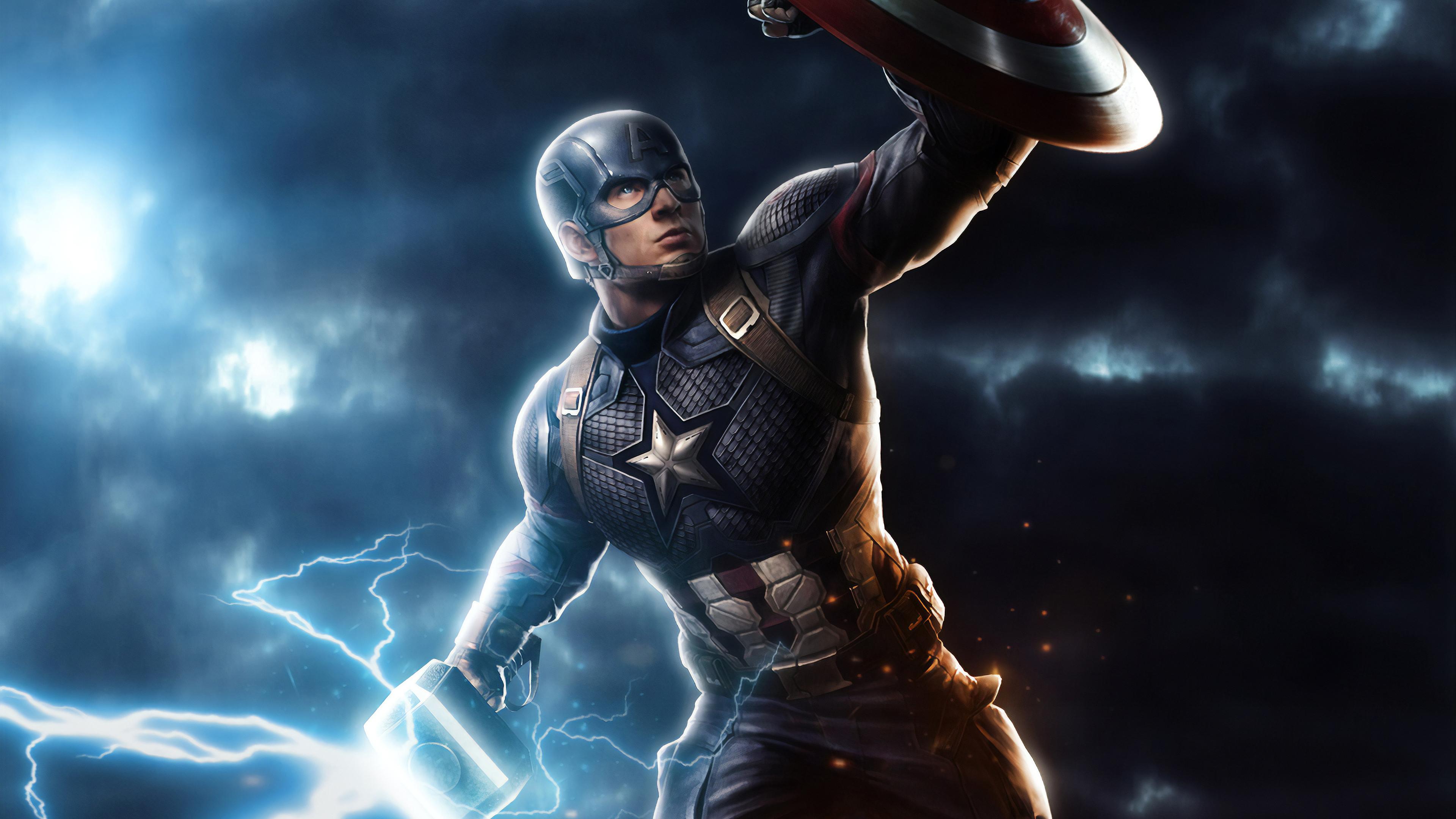 Wallpaper 4k Captain America Mjolnir Avengers Endgame 4k Art