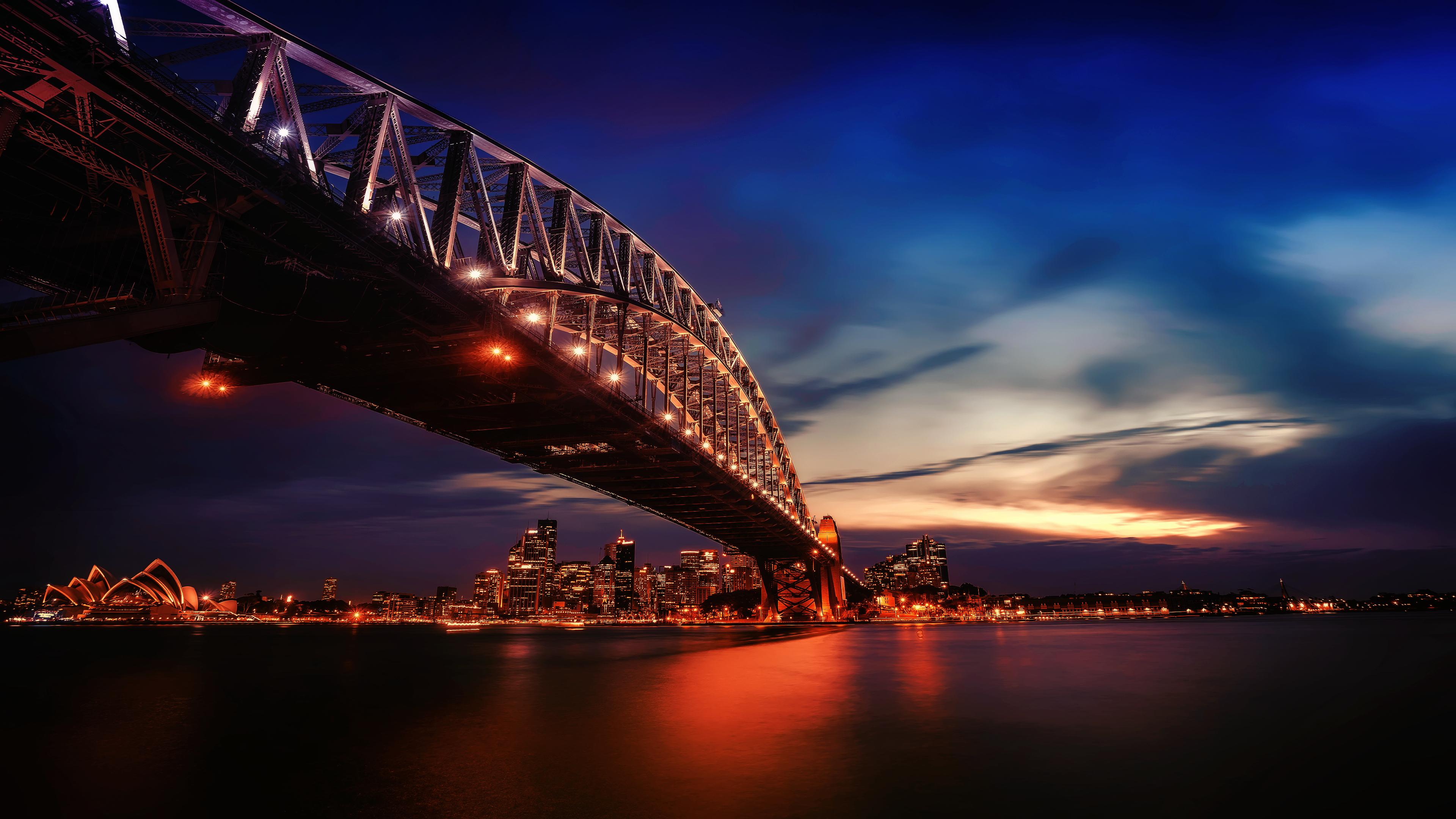 city lights sydney harbour bridge 4k 1560535785 - City Lights Sydney Harbour Bridge 4k - world wallpapers, sydney wallpapers, hd-wallpapers, bridge wallpapers, australia wallpapers, 4k-wallpapers