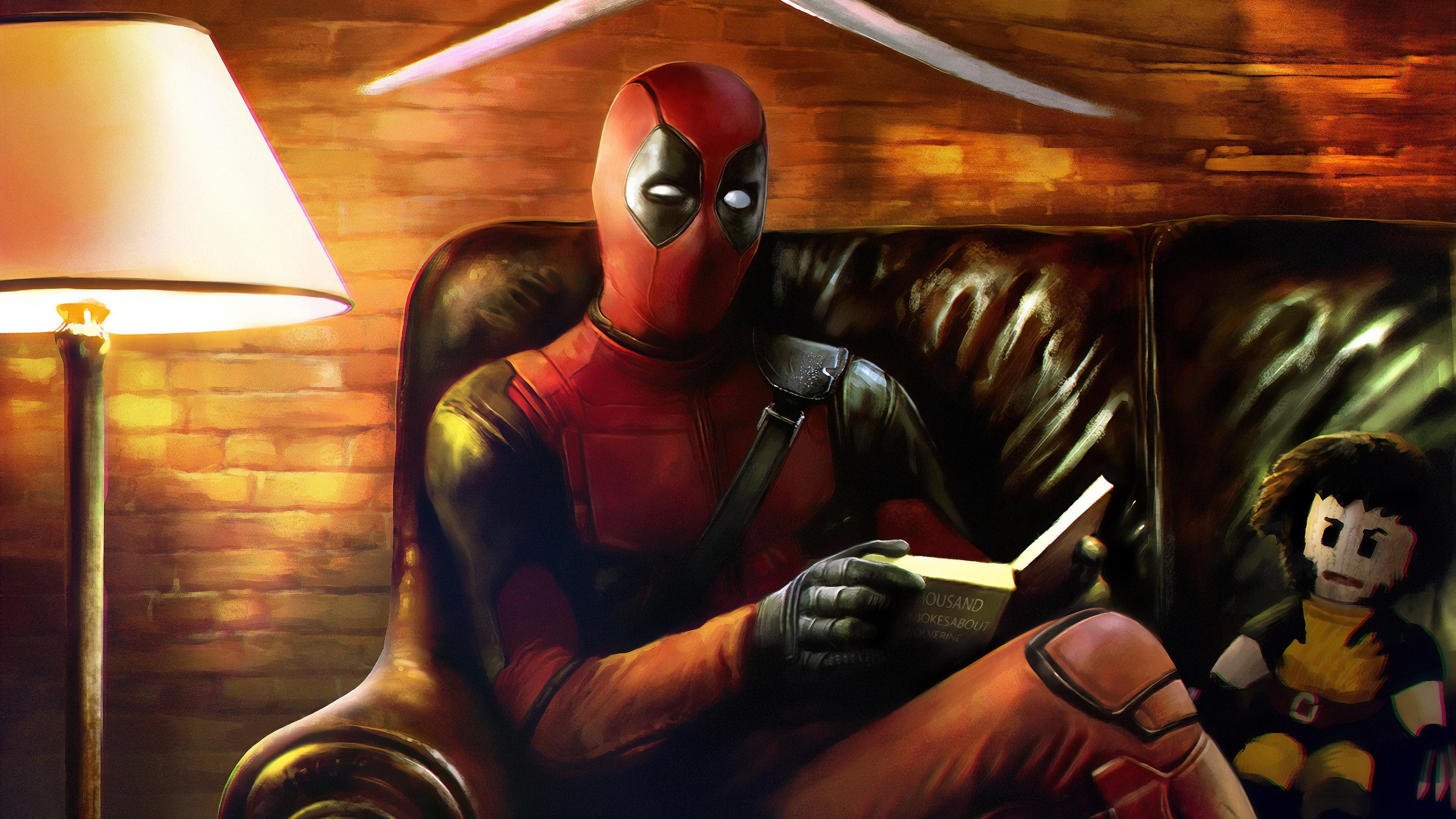 deadpool reading book 1560533733 - Deadpool Reading Book - superheroes wallpapers, hd-wallpapers, deviantart wallpapers, deadpool wallpapers, artwork wallpapers, 4k-wallpapers