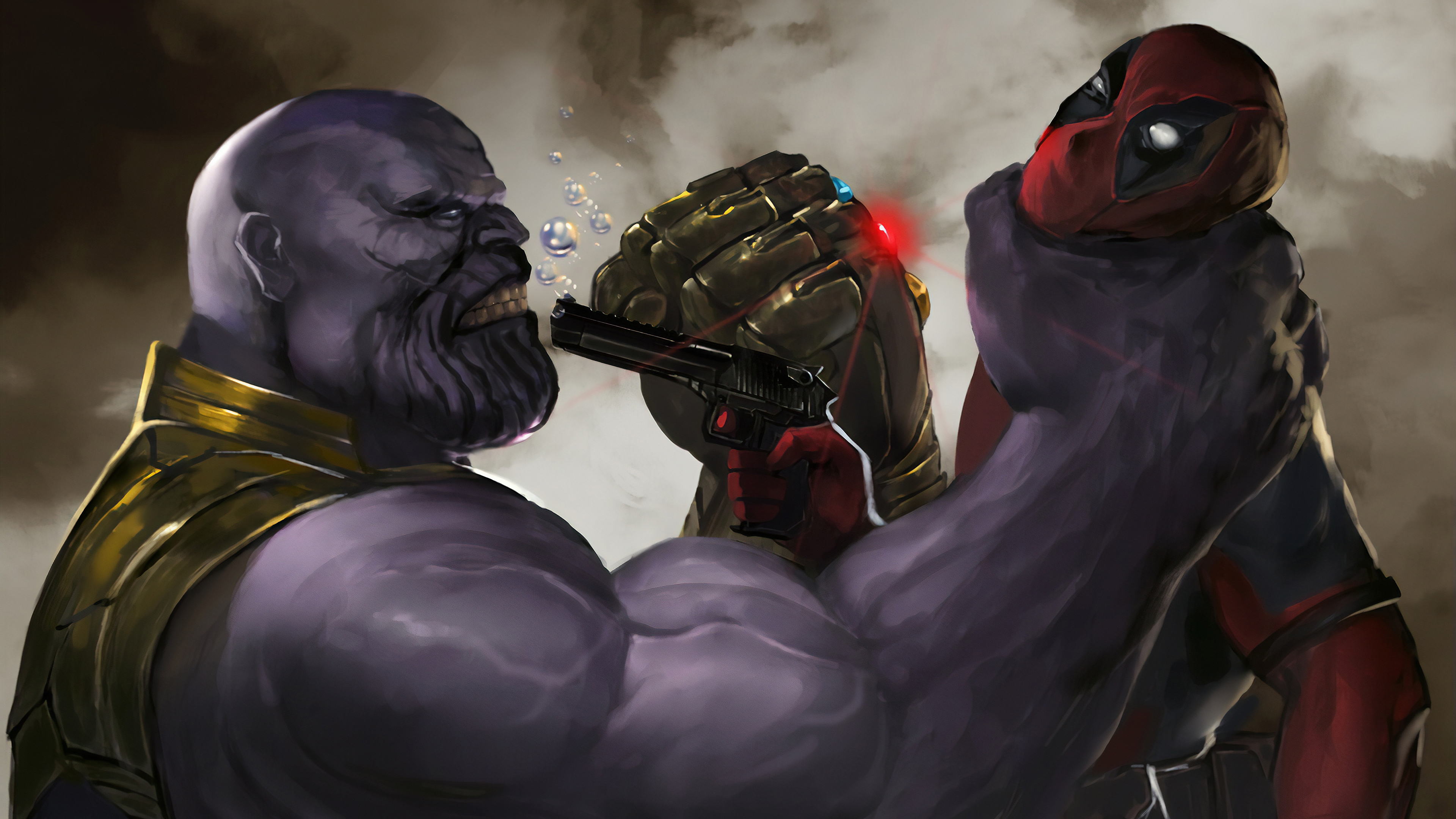 Wallpaper 4k Deadpool Vs Thanos Art 4k Wallpapers Artwork
