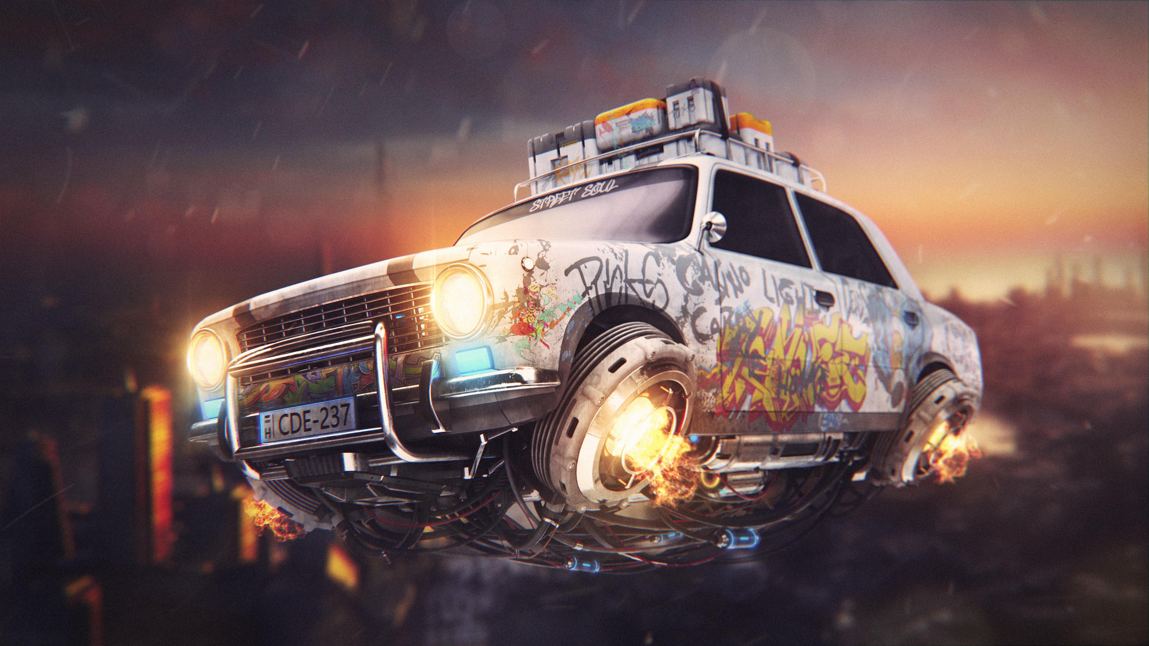 graffiti cyberpunk car 4k 1560534249 - Graffiti Cyberpunk Car 4k - hd-wallpapers, graffiti wallpapers, digital art wallpapers, cars wallpapers, behance wallpapers, artwork wallpapers, artist wallpapers, 4k-wallpapers