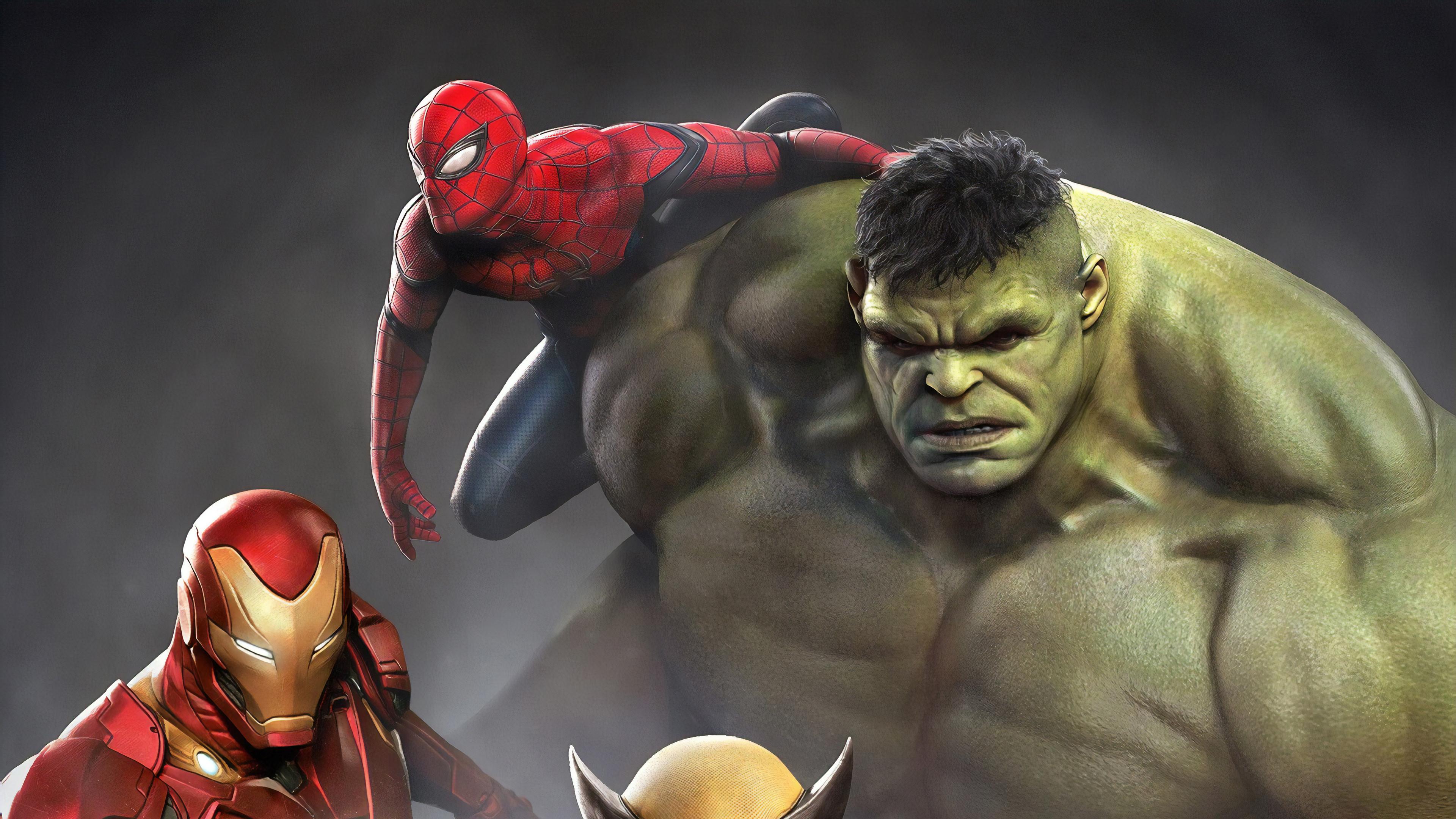 Wallpaper 4k Iron Man Hulk Spiderman Wolverine 4k 4k